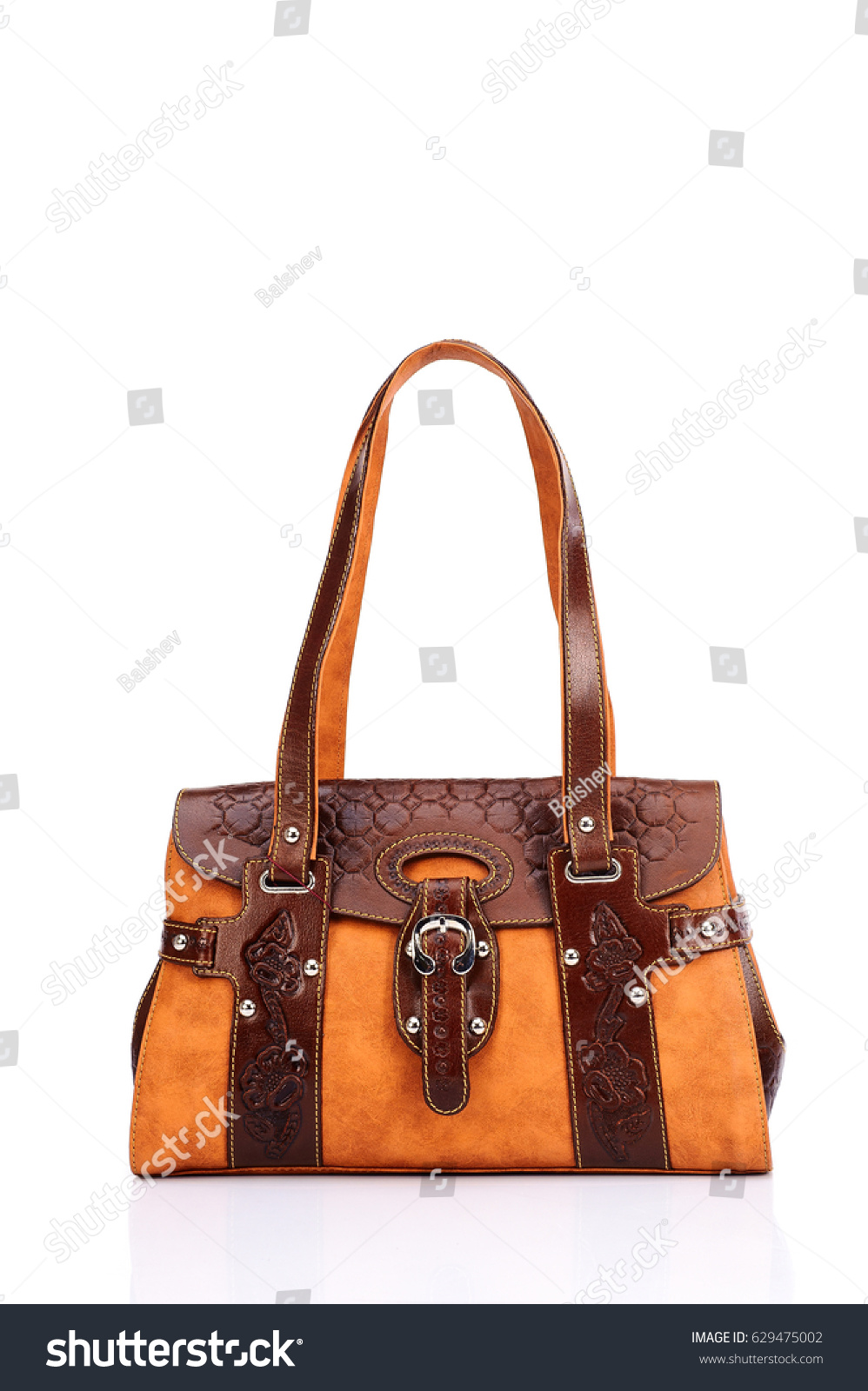 fb9e5b406f Leather Ladies Bag On White Background Stock Photo (Edit Now ...