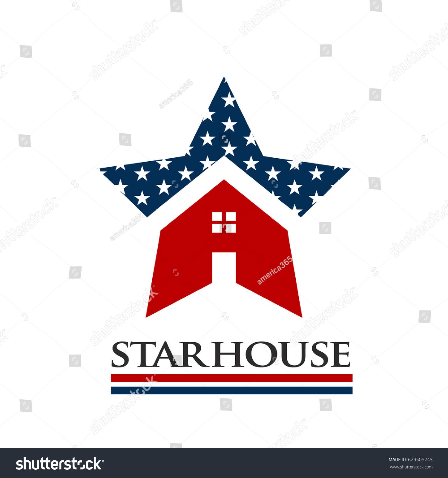 American star house award logo illustration stock vector for American house music