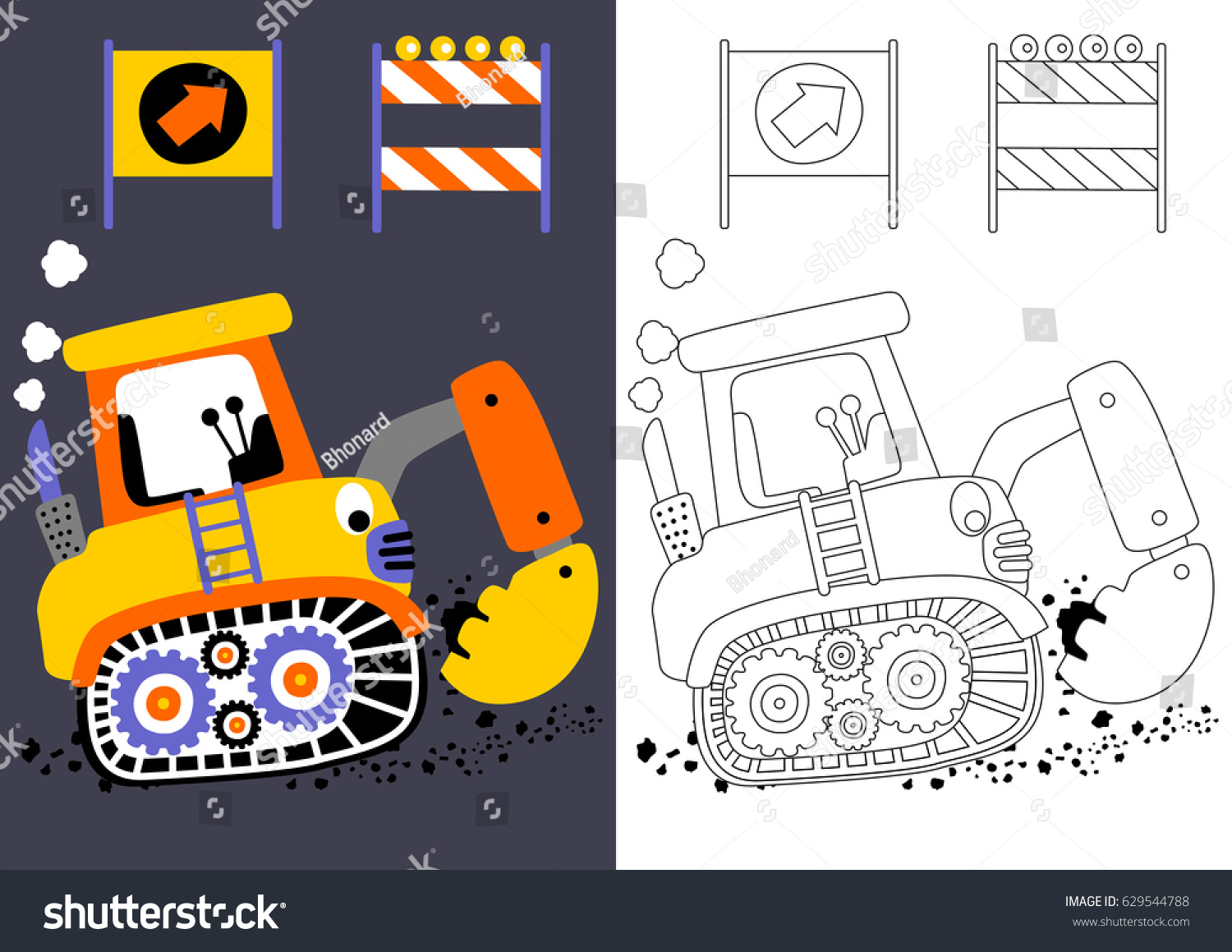 vector cartoon of digger with construction signs coloring book or page - Construction Signs Coloring Pages