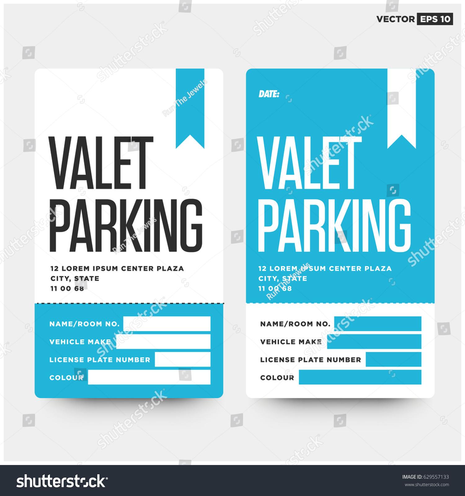 Valet Parking Card Design Car Name Stock Vector 629557133 ...