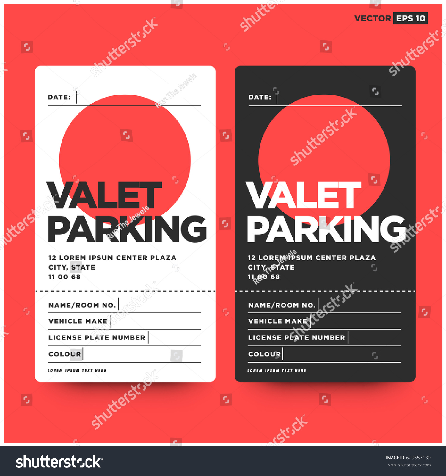 Valet Parking Card Design Car Name Stock Vector 629557139 ...