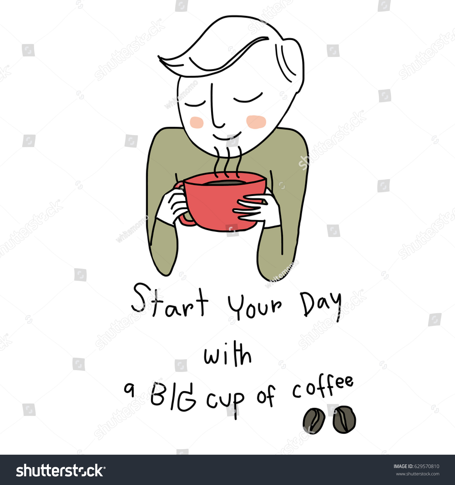 Larger preview vector clip art of a happy yellow coffee cup character - Cute Man Holding A Coffee Cup In Hands And Smelling Aroma Of Coffee Vector Illustration
