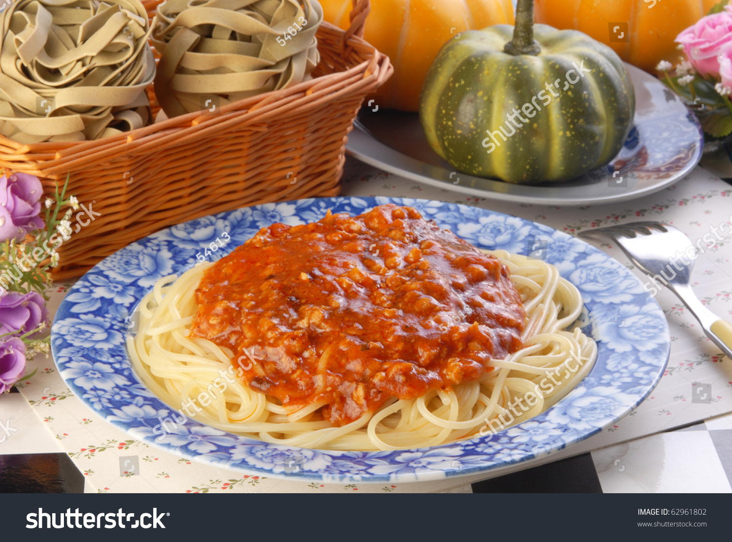 Spaghetti With A Rich Meat Sauce Stock Photo 62961802 : Shutterstock