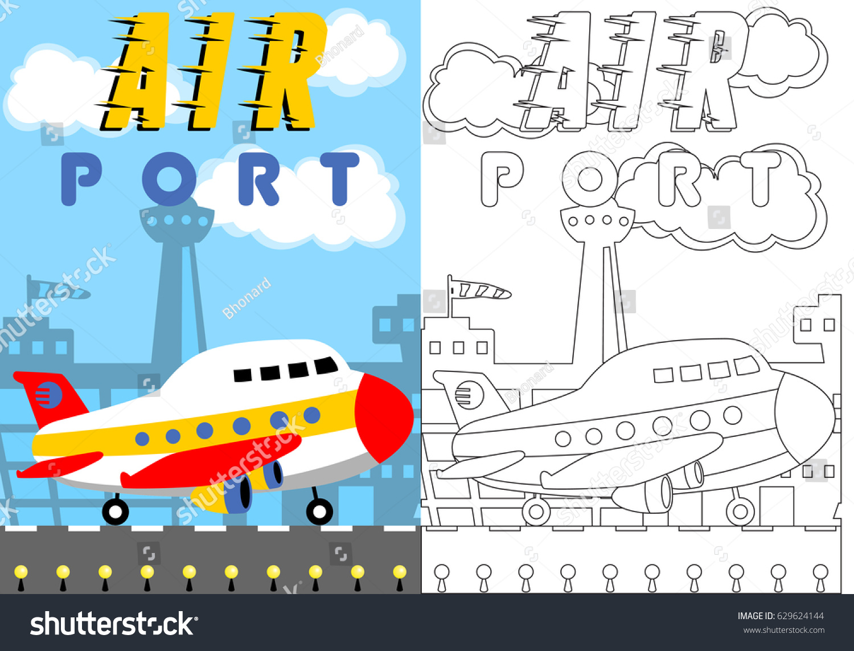 Vector Cartoon Plane Airport Coloring Page Stock Vector (Royalty ...