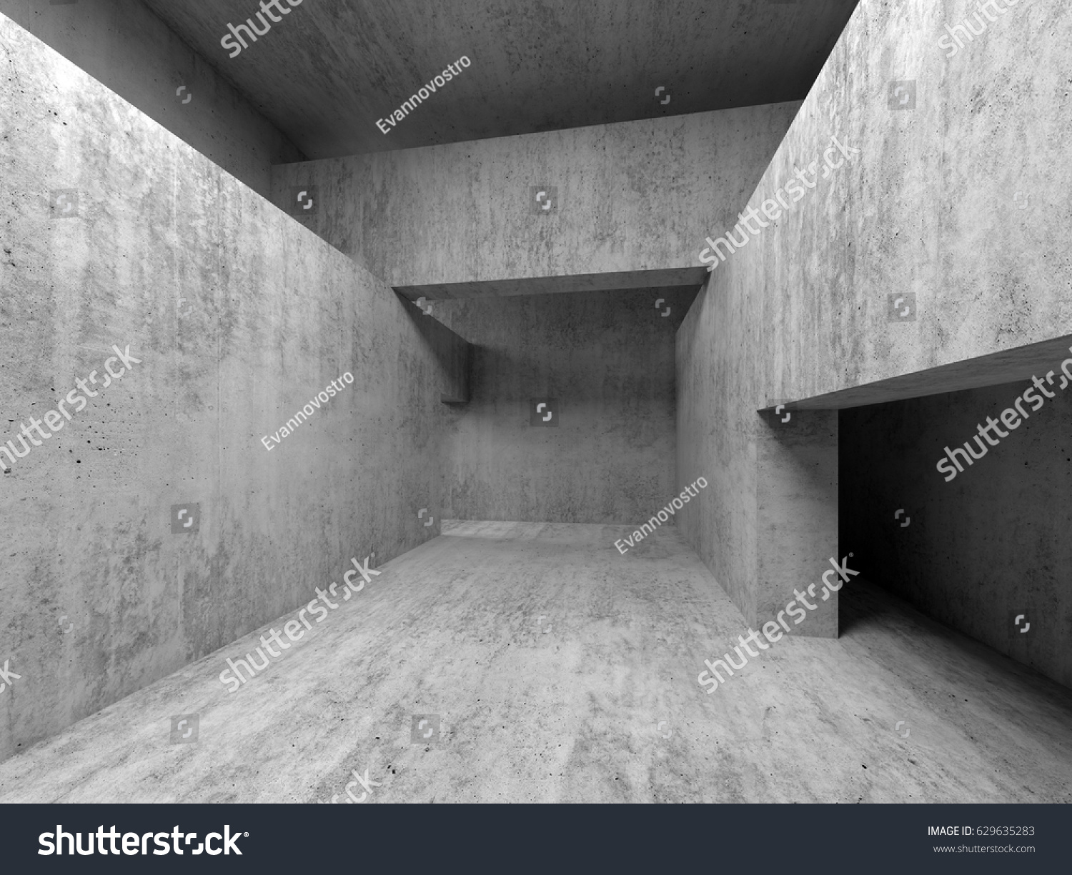 Abstract Empty Room Concrete Interior Walls Stock Illustration 629635283    Shutterstock