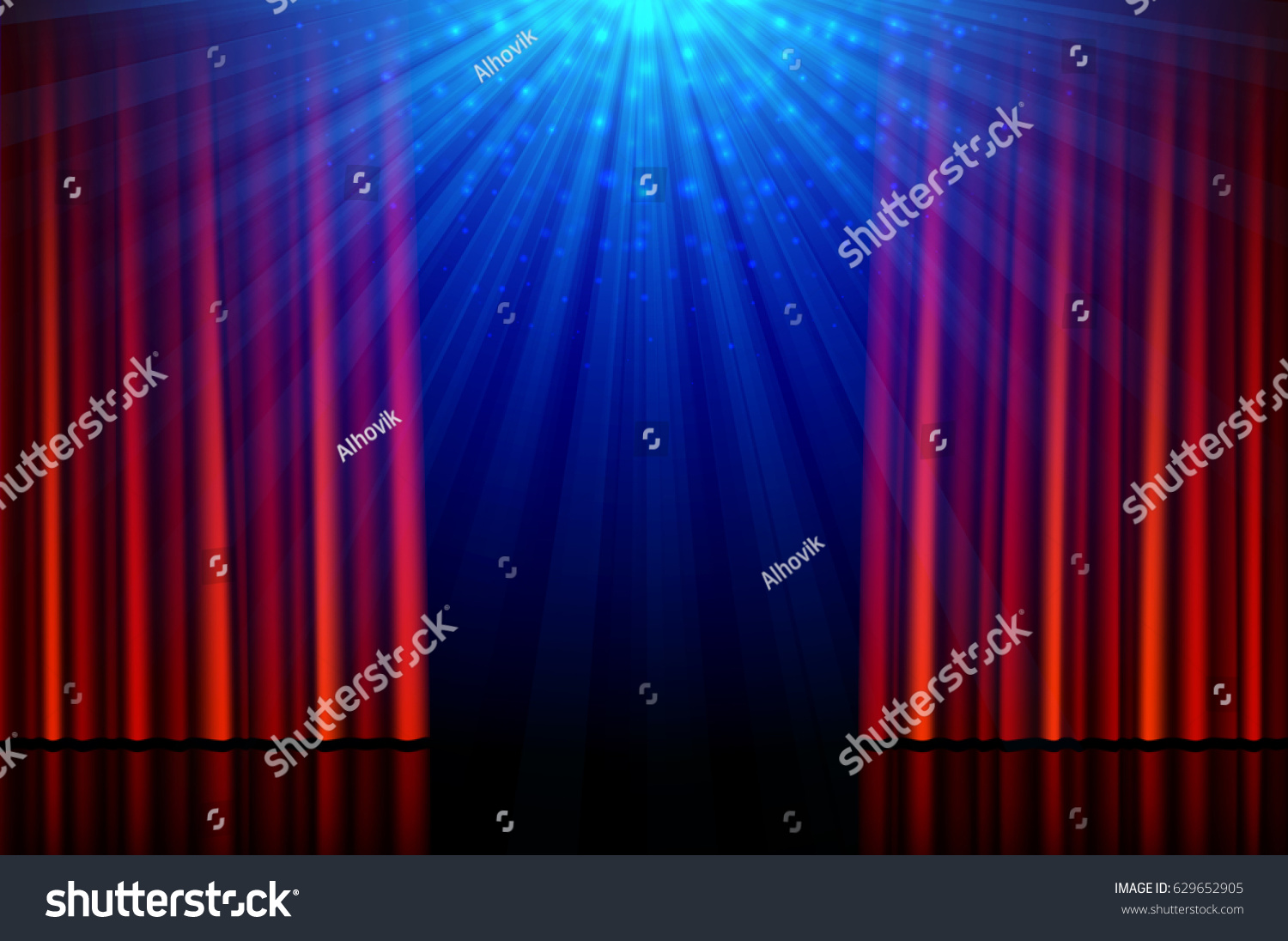 Red curtains with spotlight - Stage With Red Opening Curtains And Spotlights Vector Illustration