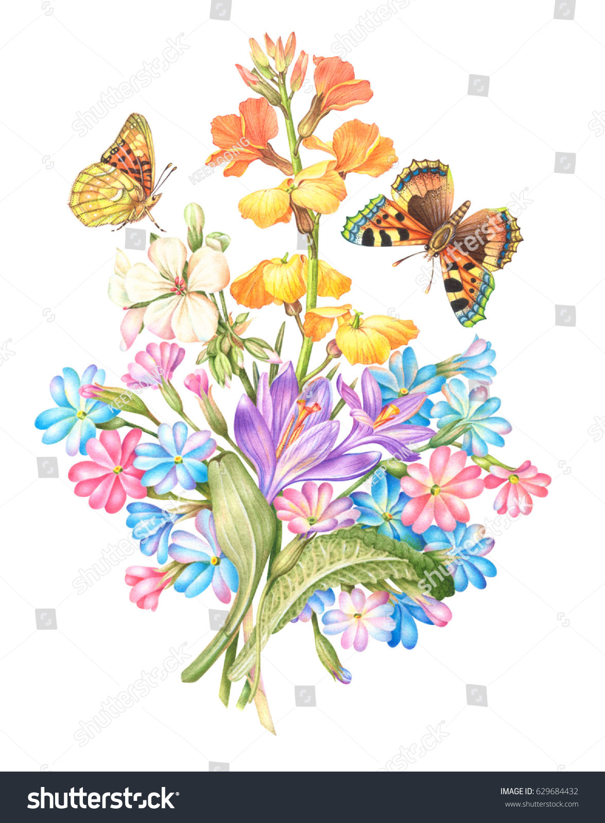 Vintage Watercolor Greeting Card With Blooming Flowers And Butterflies White Background Clipping Path Included