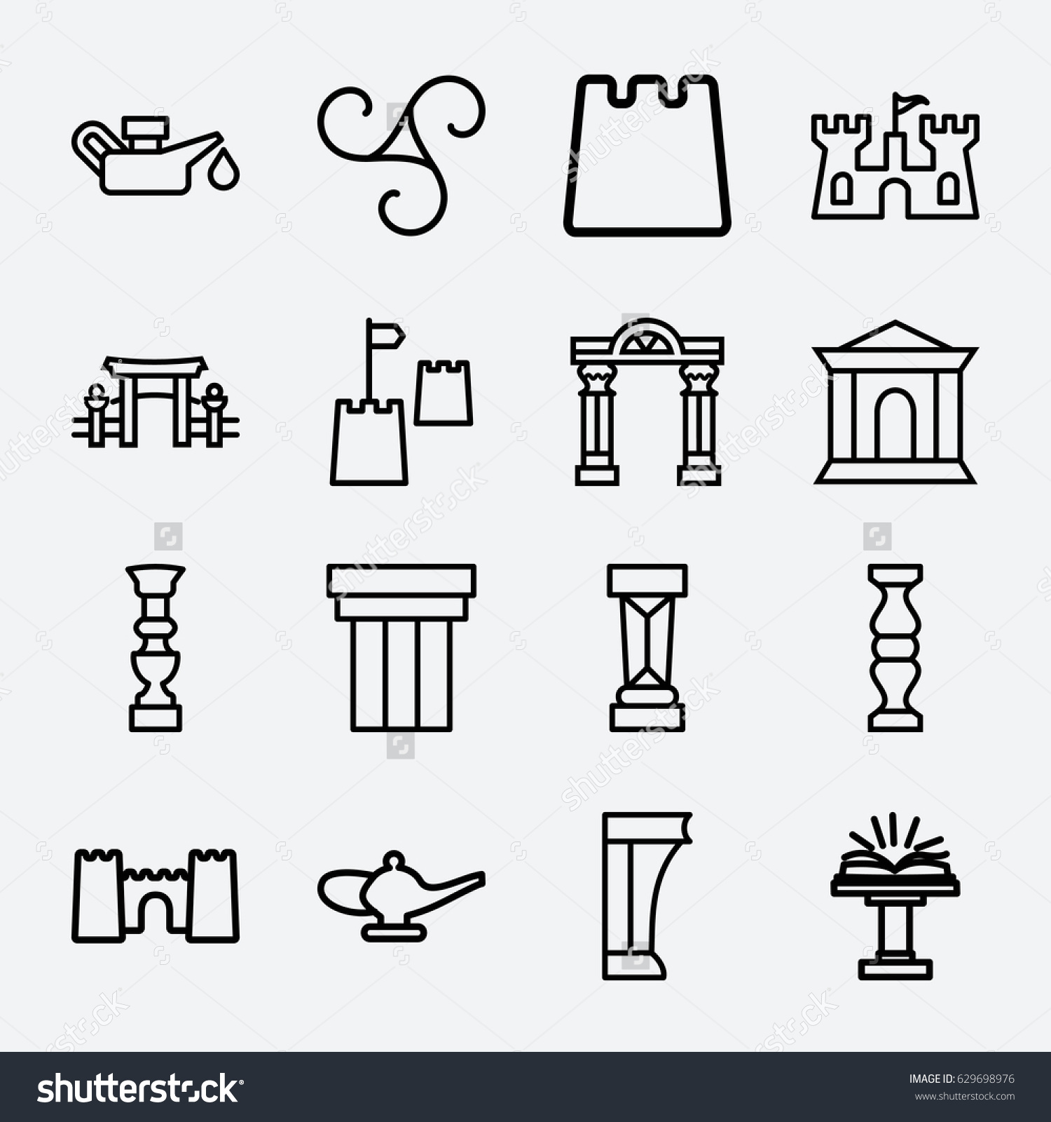 ancient icon set 16 ancient outline stock vector 629698976