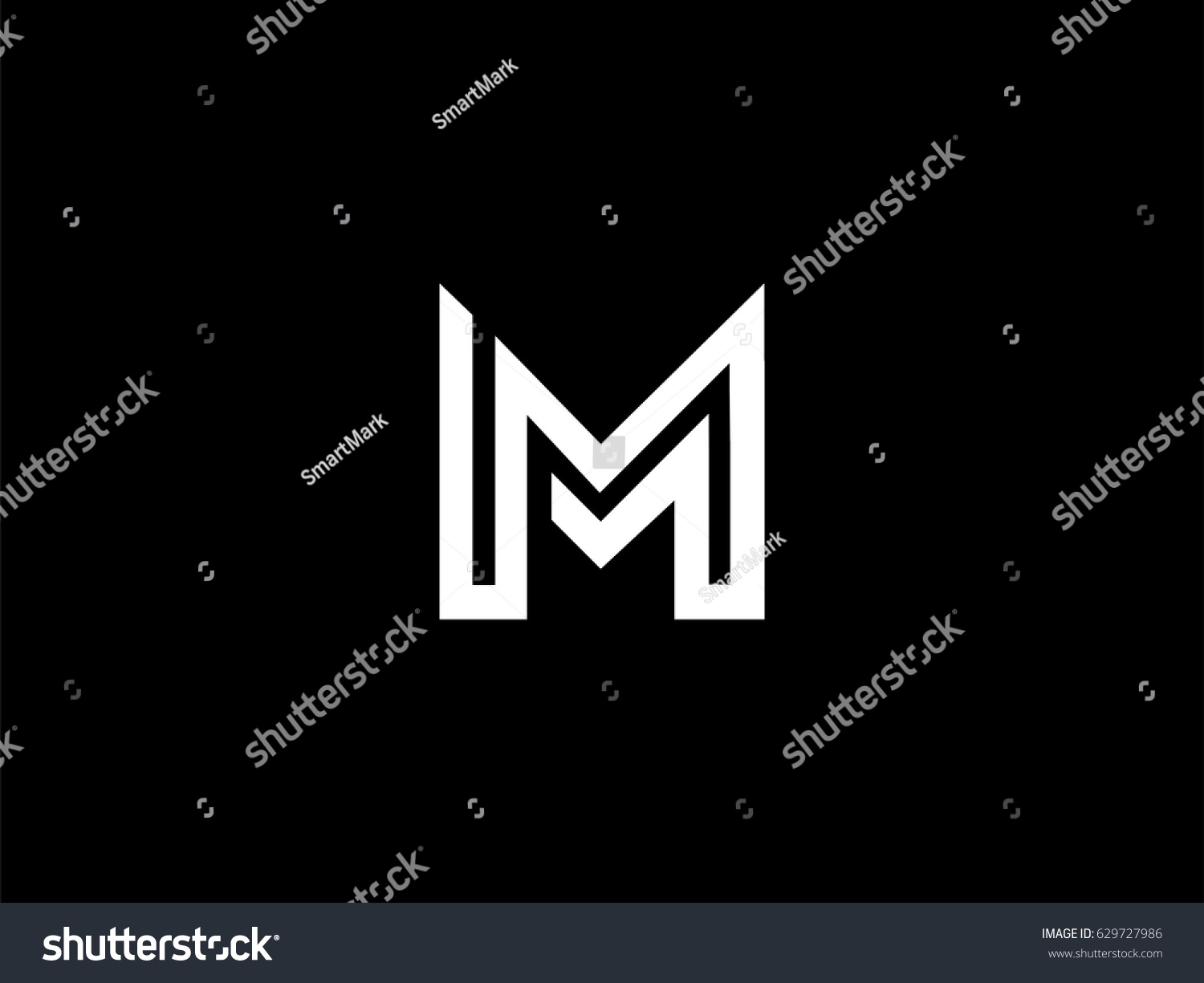 letter m logo mm initials two stock vector 629727986