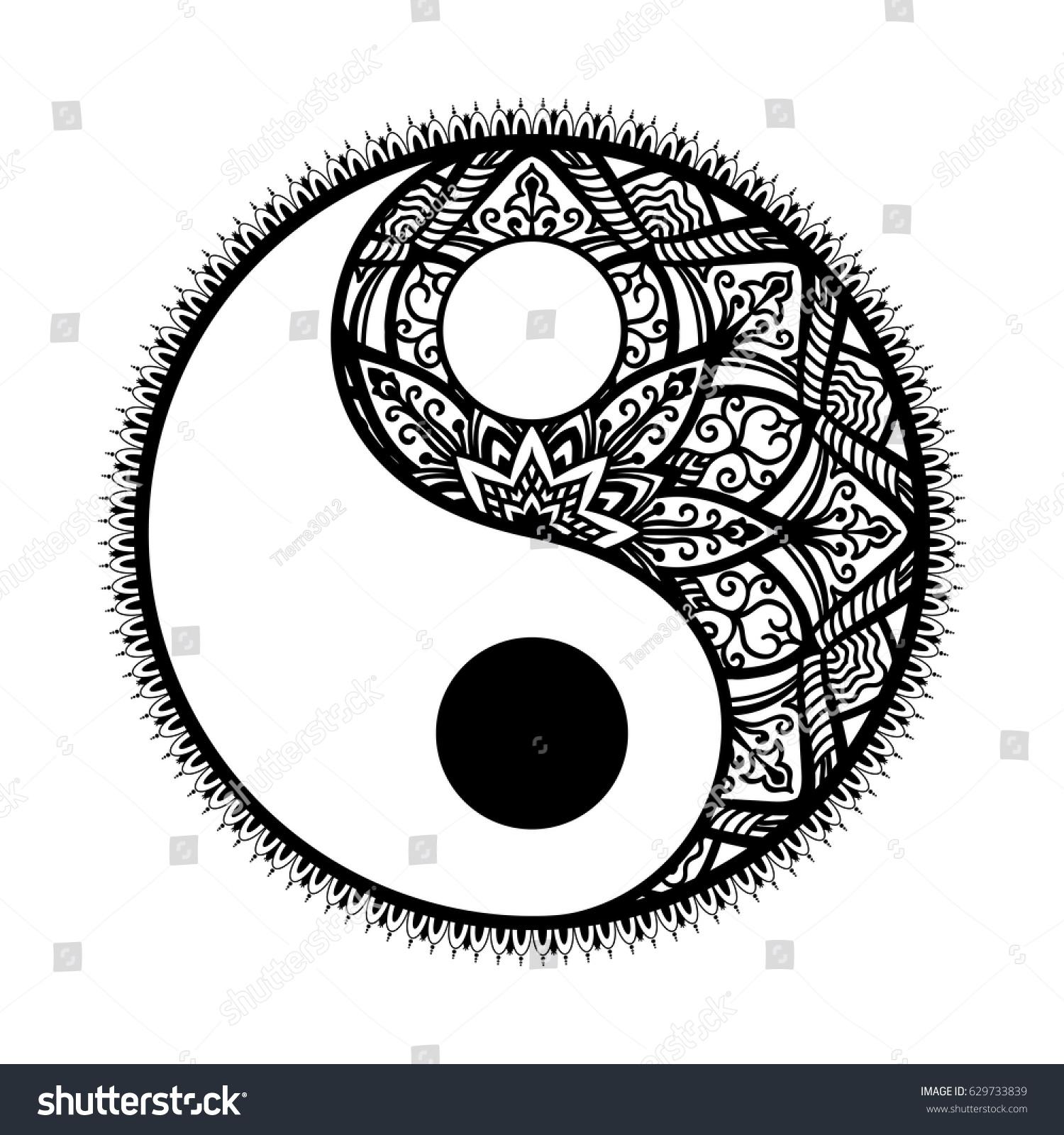 Stylized yin yang tao mandala symbolmonochrome stock vector stylized yin and yang tao mandala symbolnochrome round ornament pattern paisley background buycottarizona Images