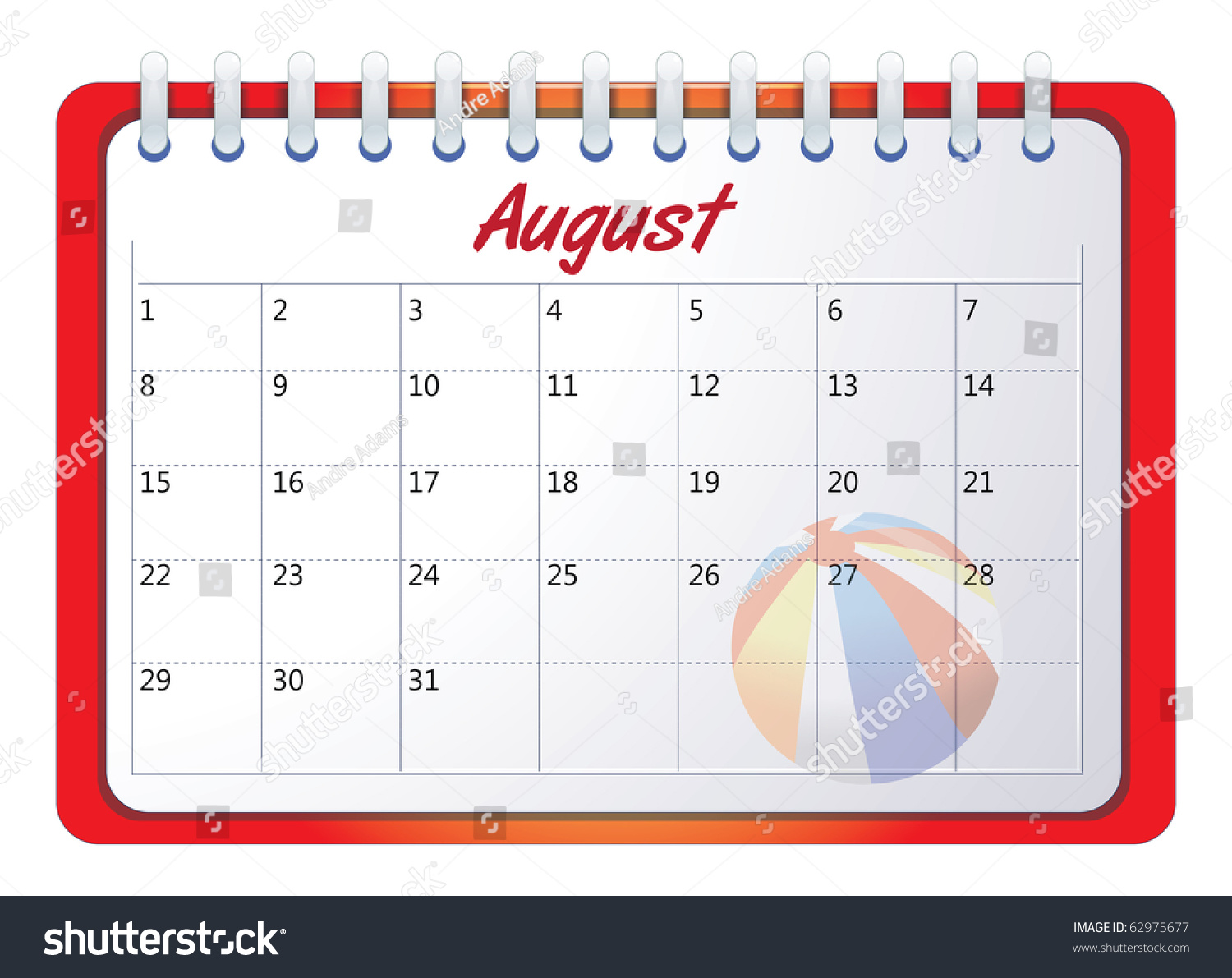Cartoon Vector Illustration Of An August Calendar