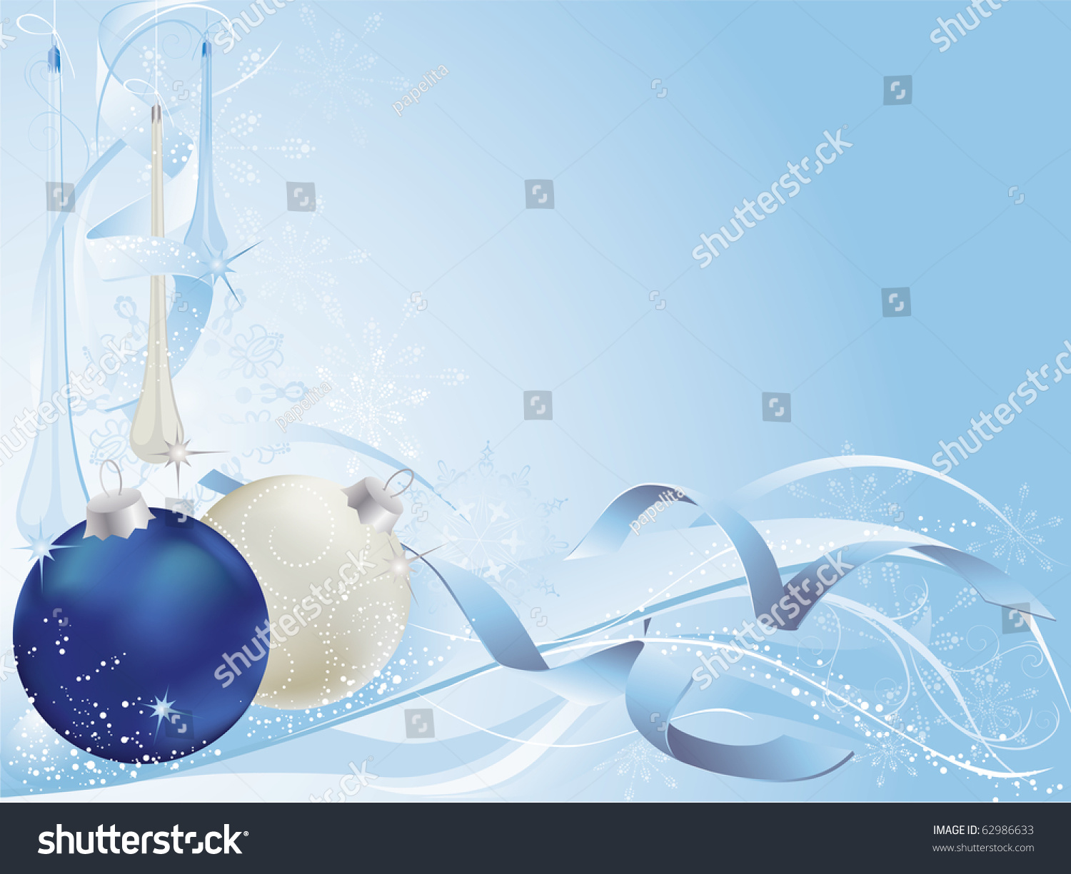 Blue And Silver Christmas Background With Baubles