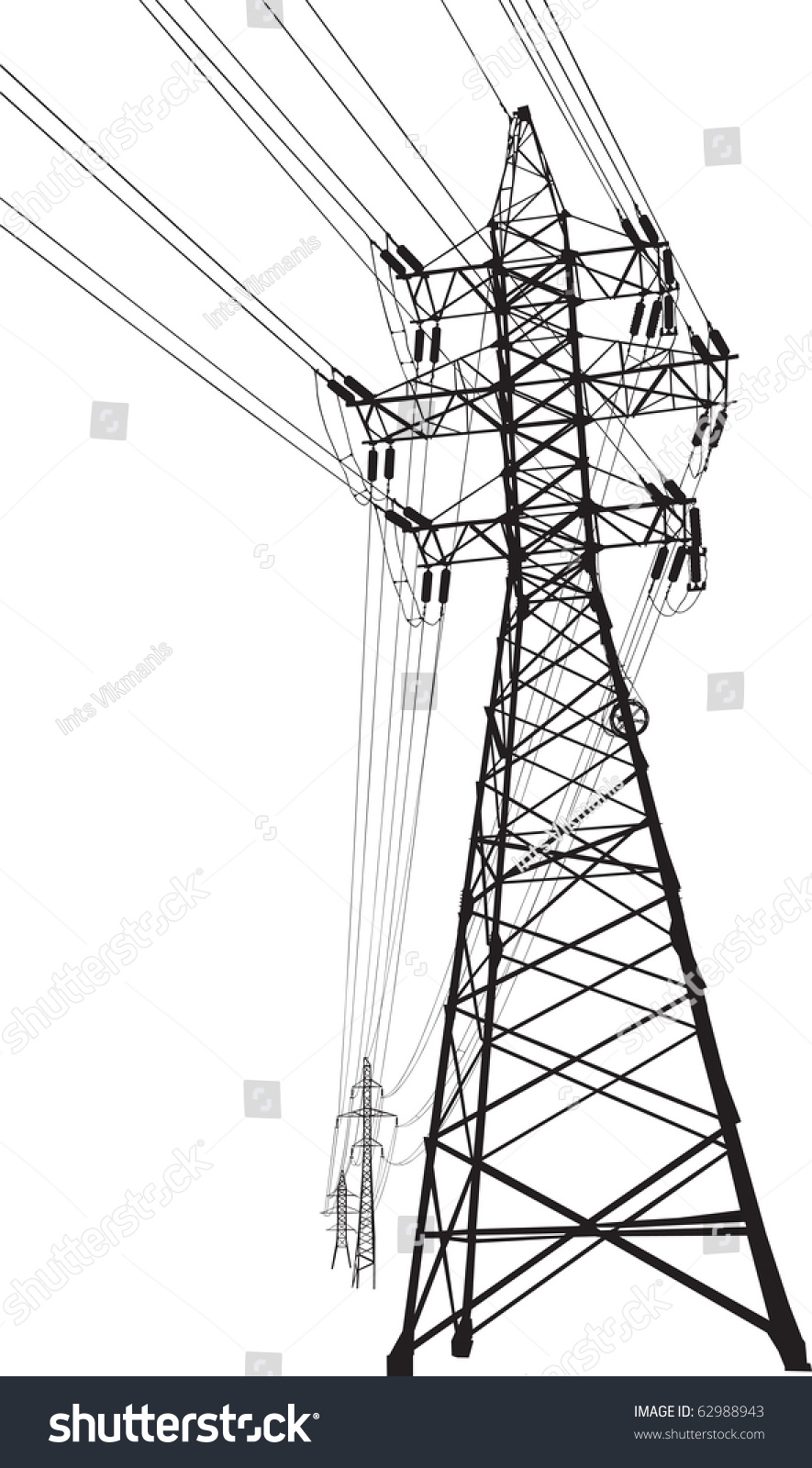 High Voltage Electrical Lines : Vector silhouette high voltage power lines stock