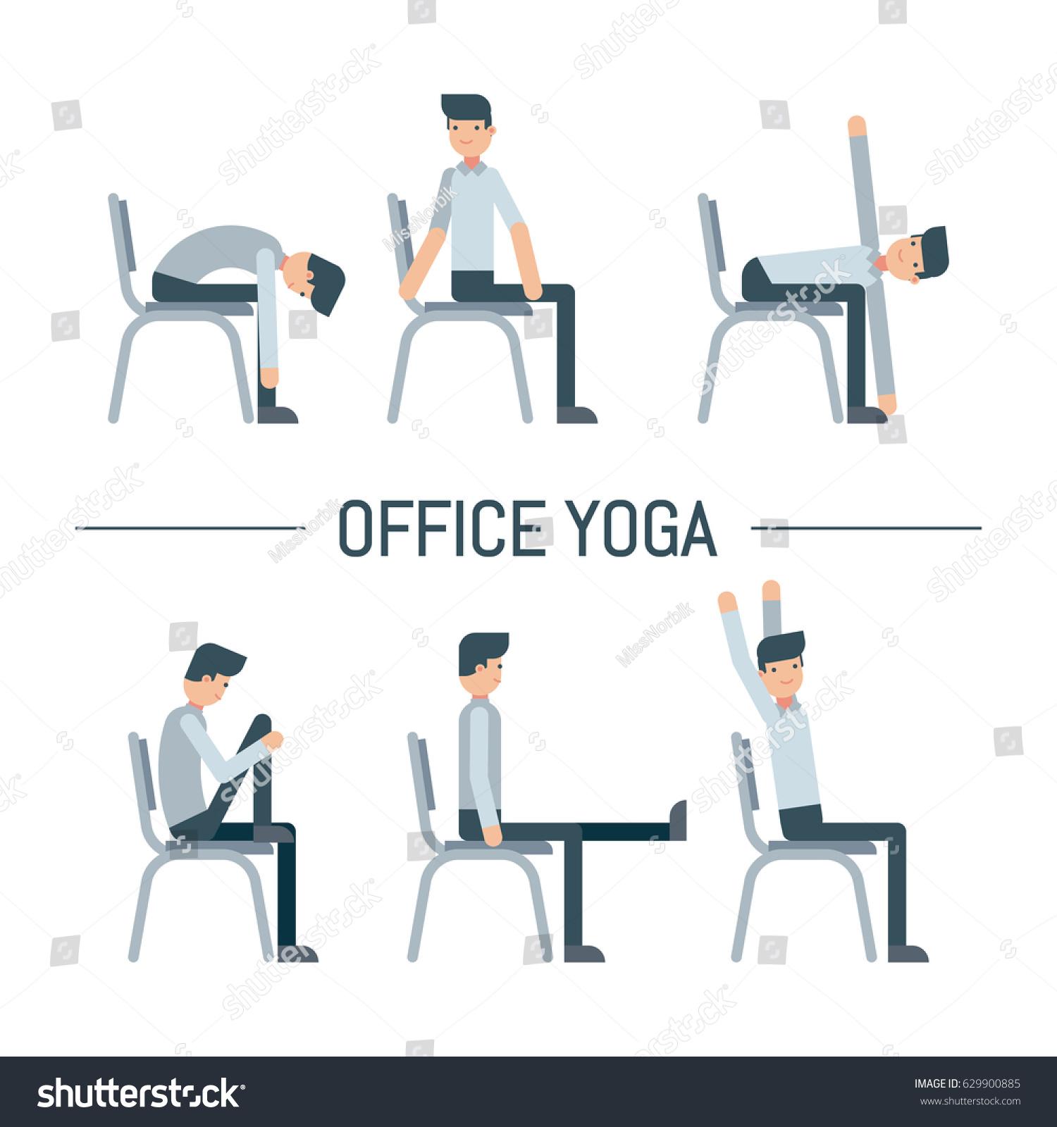 Vector fice Chair Yoga Pose Set Stock Vector