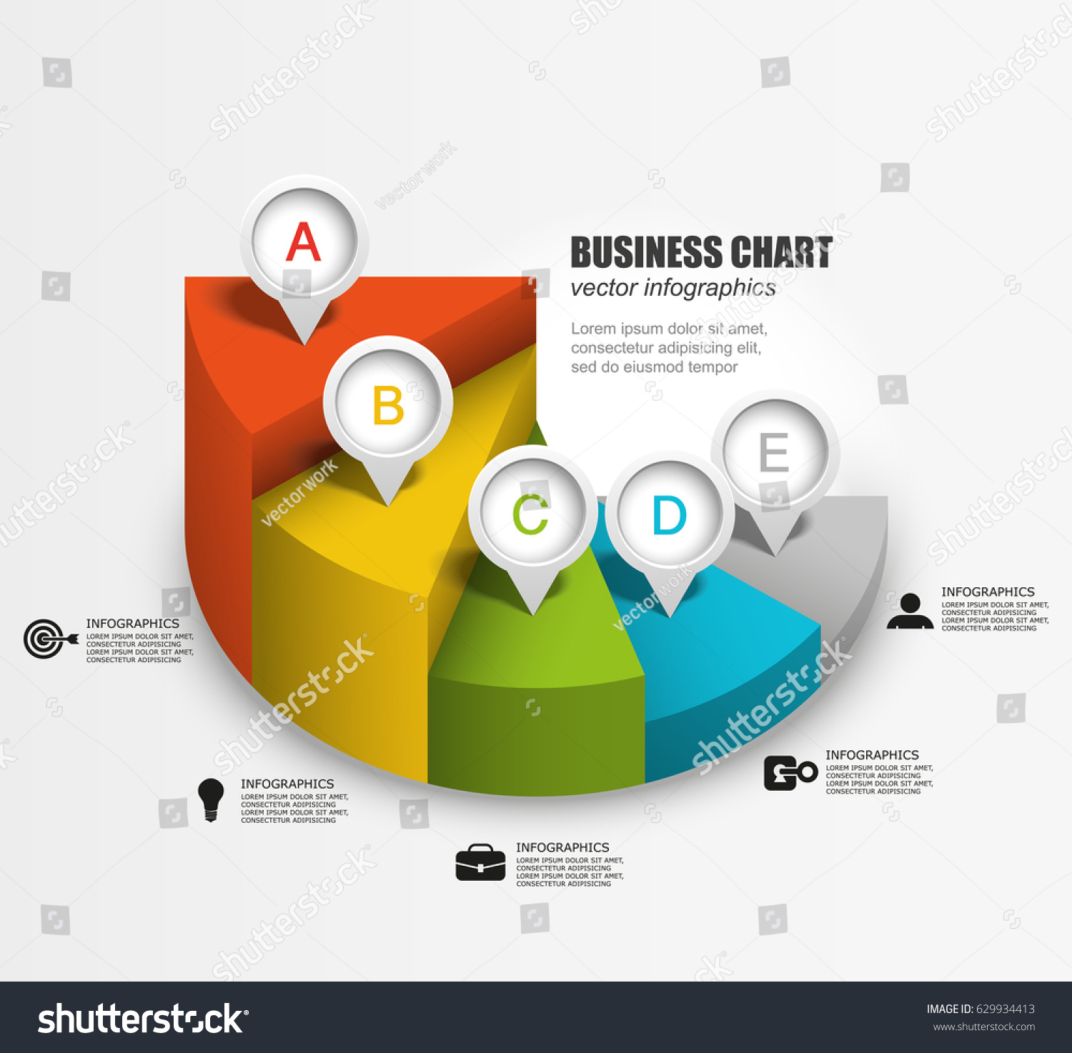 3 d pie chart steps business infographics stock vector (royalty free