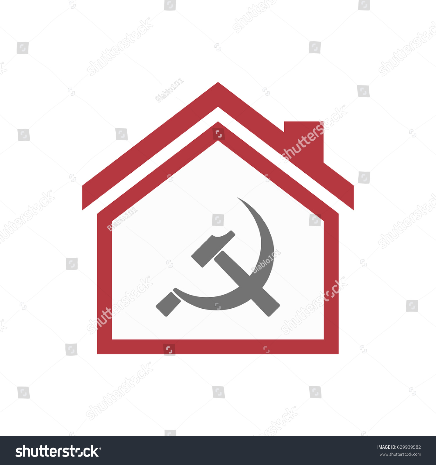 Illustration isolated lineart house communist symbol stock vector illustration of an isolated lineart house with the communist symbol biocorpaavc Gallery