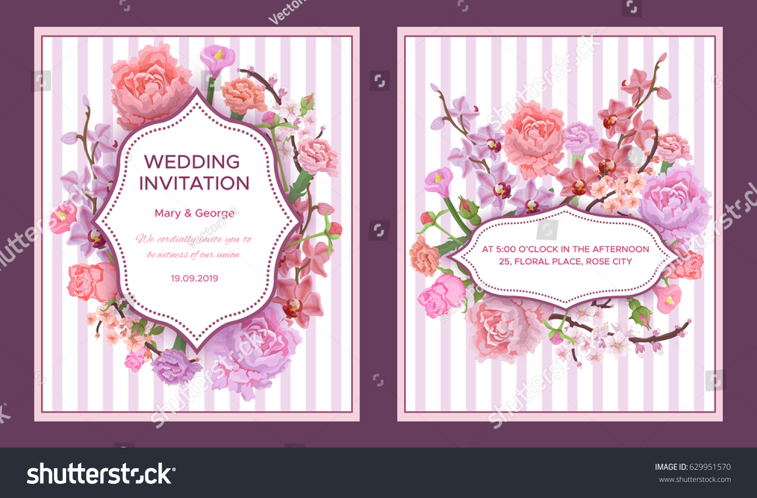 Colorful Wedding Invitation Cards Greeting Text Stock Vector ...