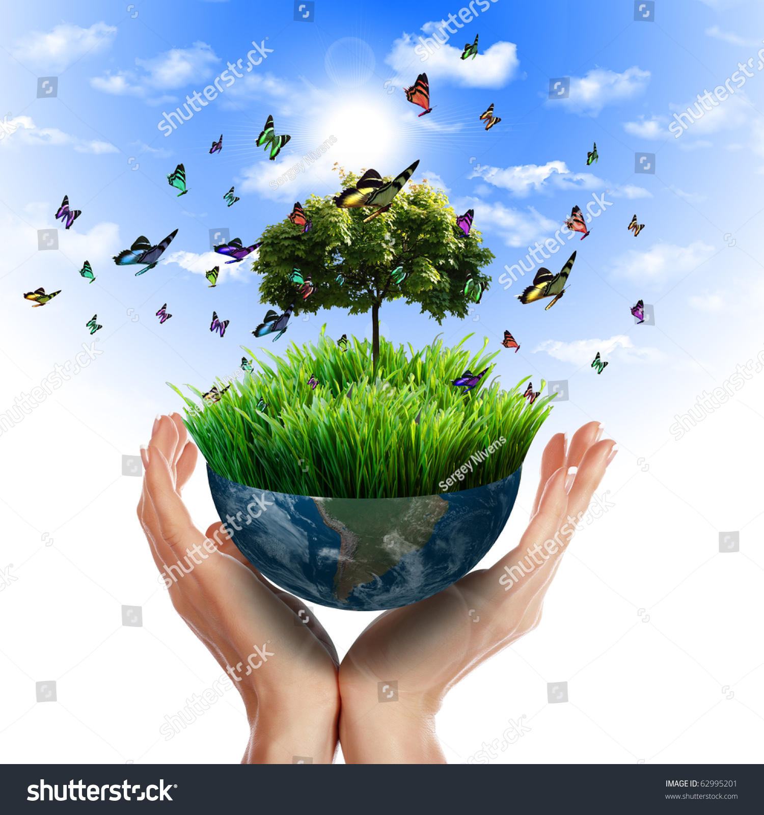 Stock Photo Human Hand And Multicolored Butterflies Grass And A Symbol Of The Environment Collage on Green Environmental Clip Art
