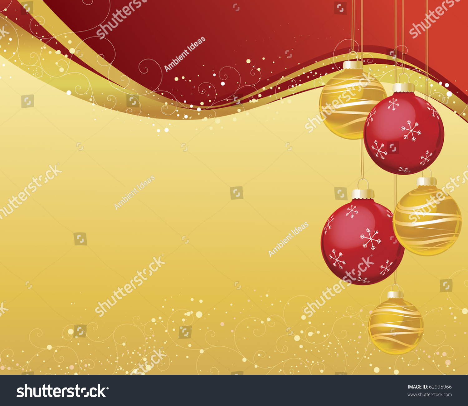 Red and gold christmas ornaments - Red And Gold Christmas Ornaments On Shiny Wave Background With Snow Speckles And Decorative Curls