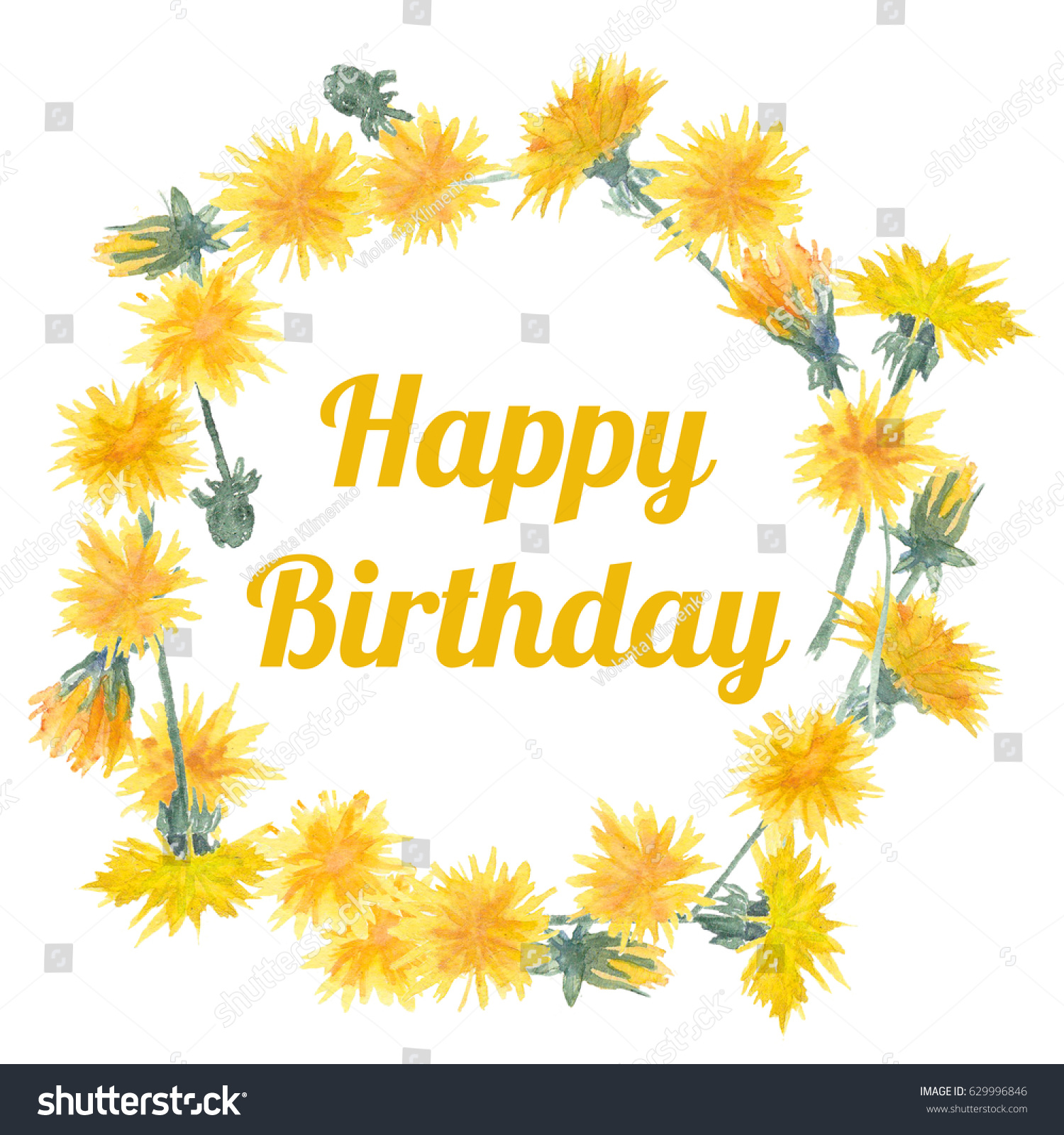 Watercolor Dandelion Wreath Happy Birthday Stock Illustration