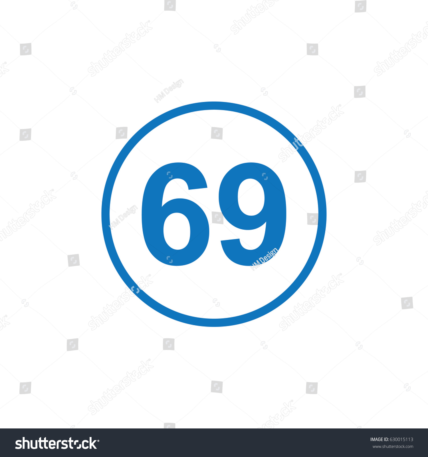 Number 69 Icon Illustration Isolated Vector Stock Vector Royalty