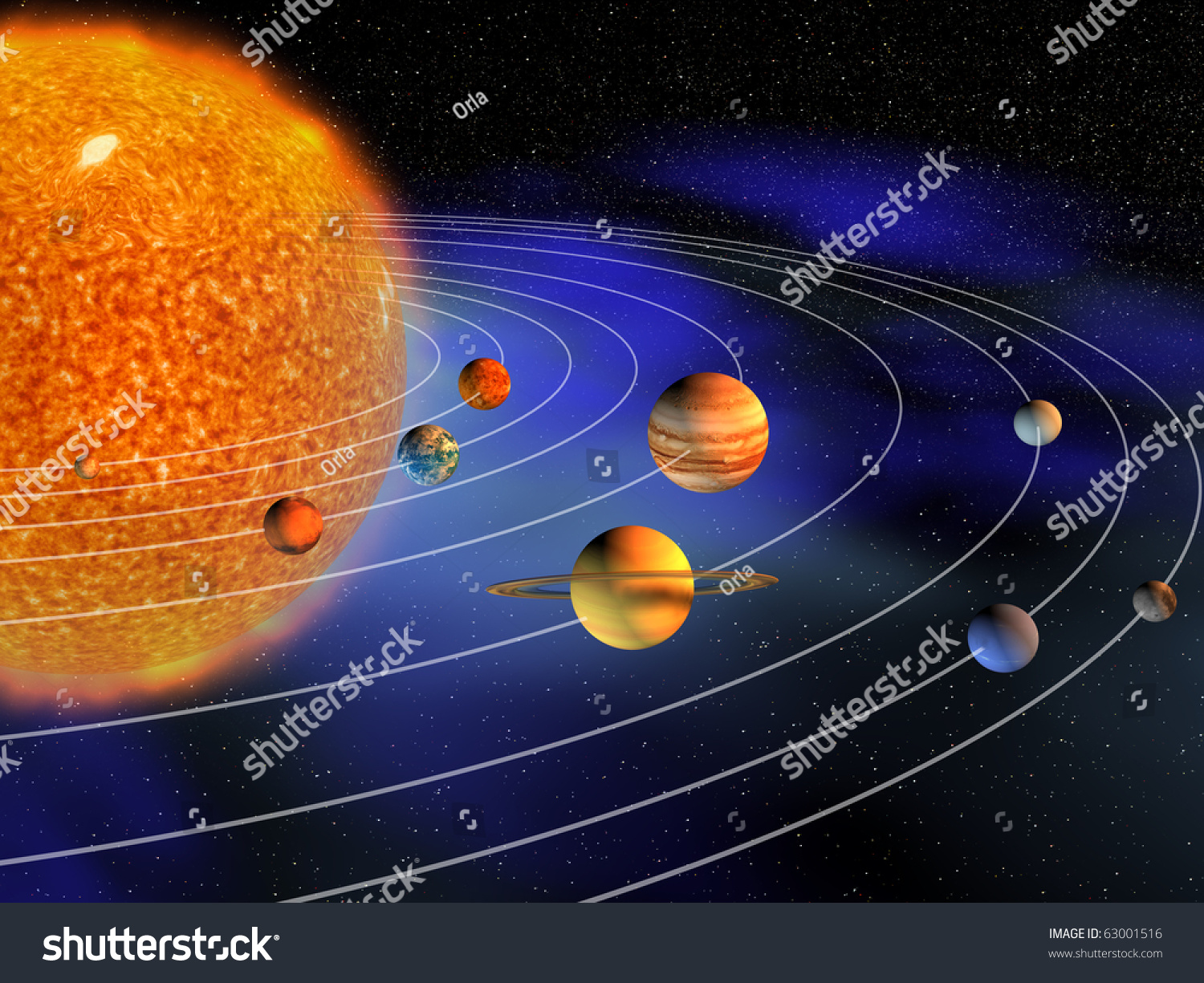 diagram of planets in solar system   d render stock photo    diagram of planets in solar system   d render preview  save to a lightbox