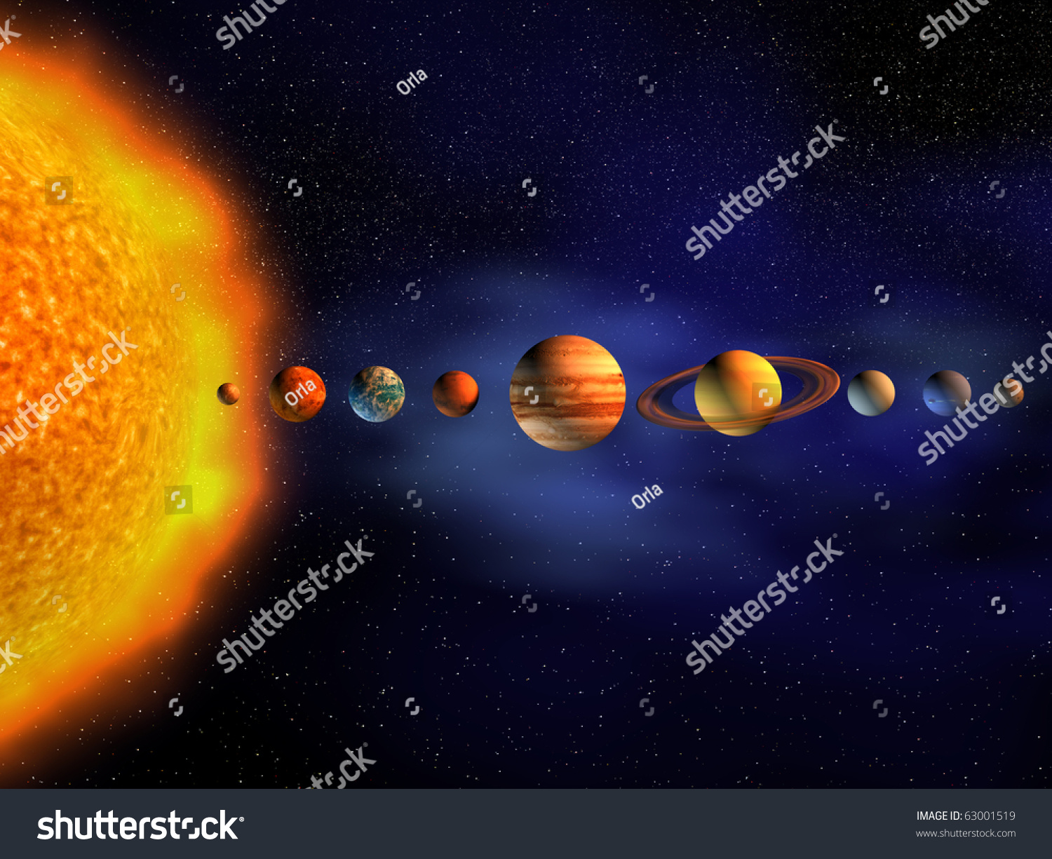 Diagram Planets Solar System 3d Render Stock Illustration 63001519