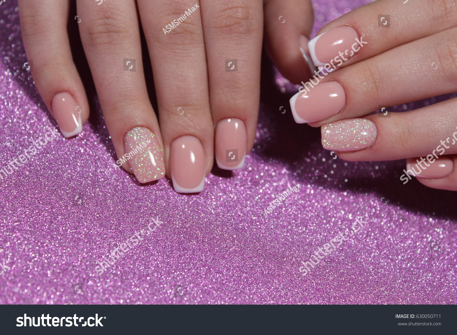 French Manicure Wedding Design Stock Photo (Edit Now)- Shutterstock