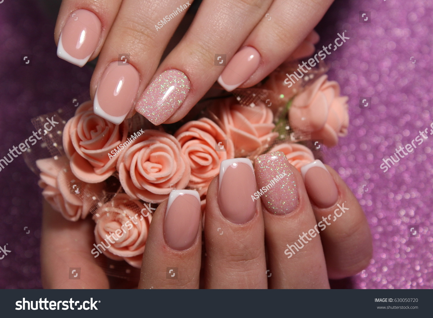 French Manicure Nail Design Stock Photo (100% Legal Protection ...