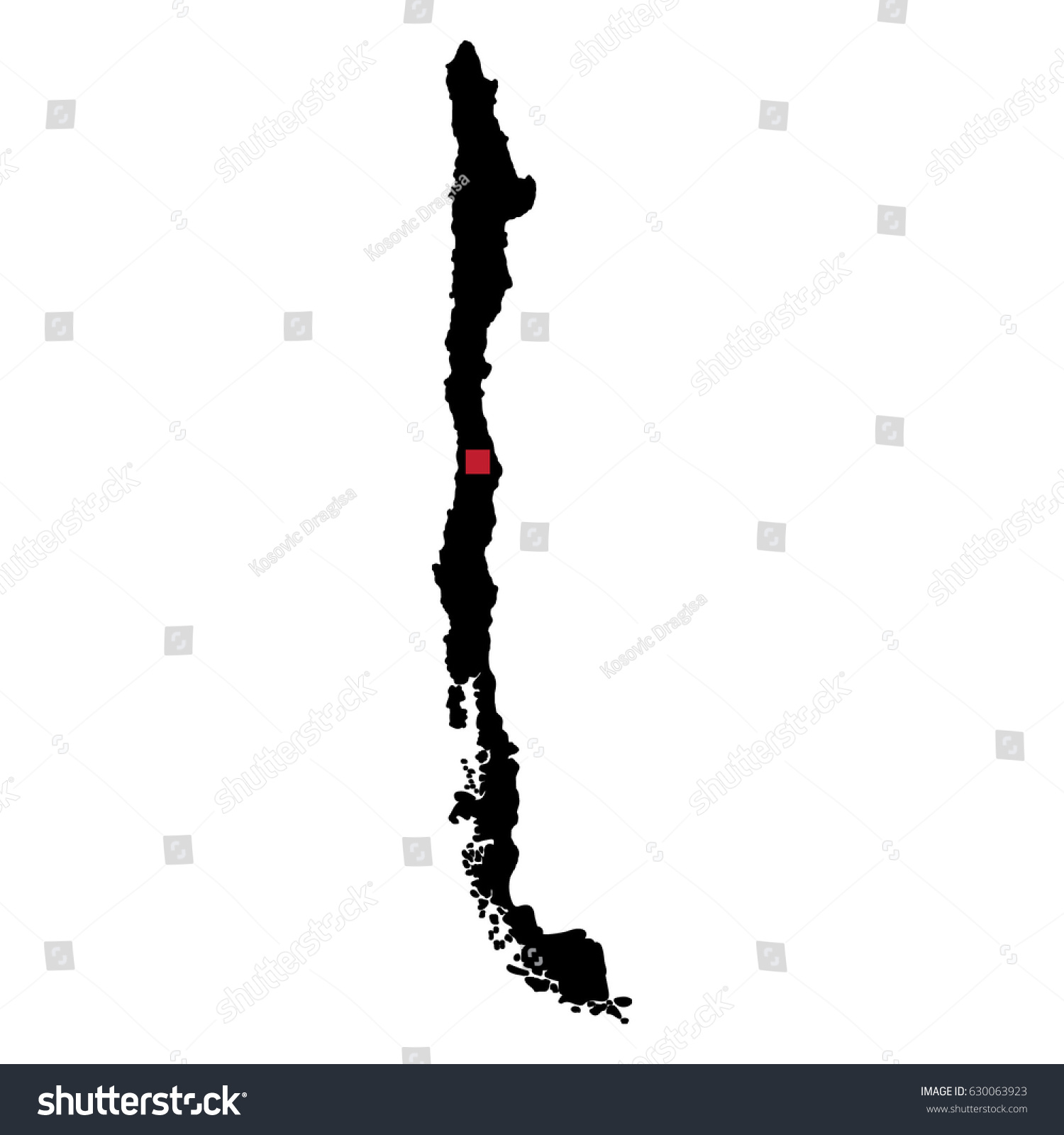 Map Silhouette Chile Capital City Stock Vector Royalty Free 630063923