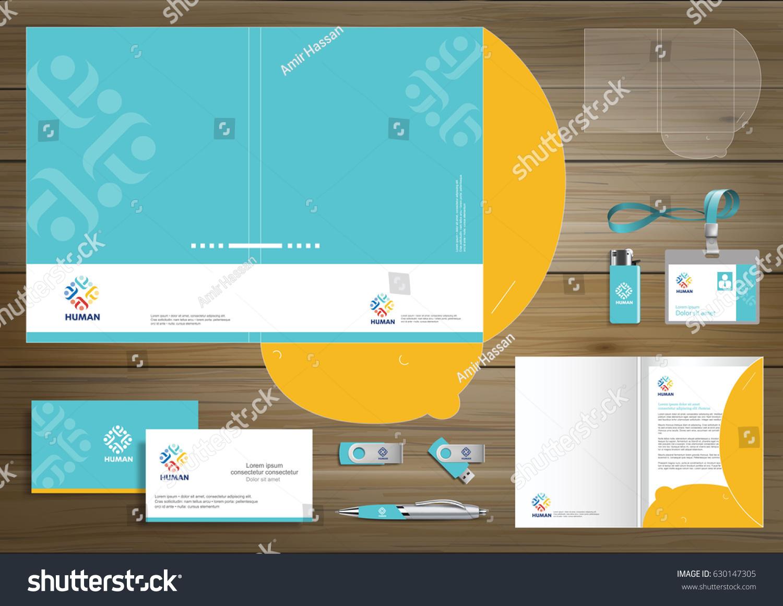 Folder Template Design Digital Technology Branding Stock Vector
