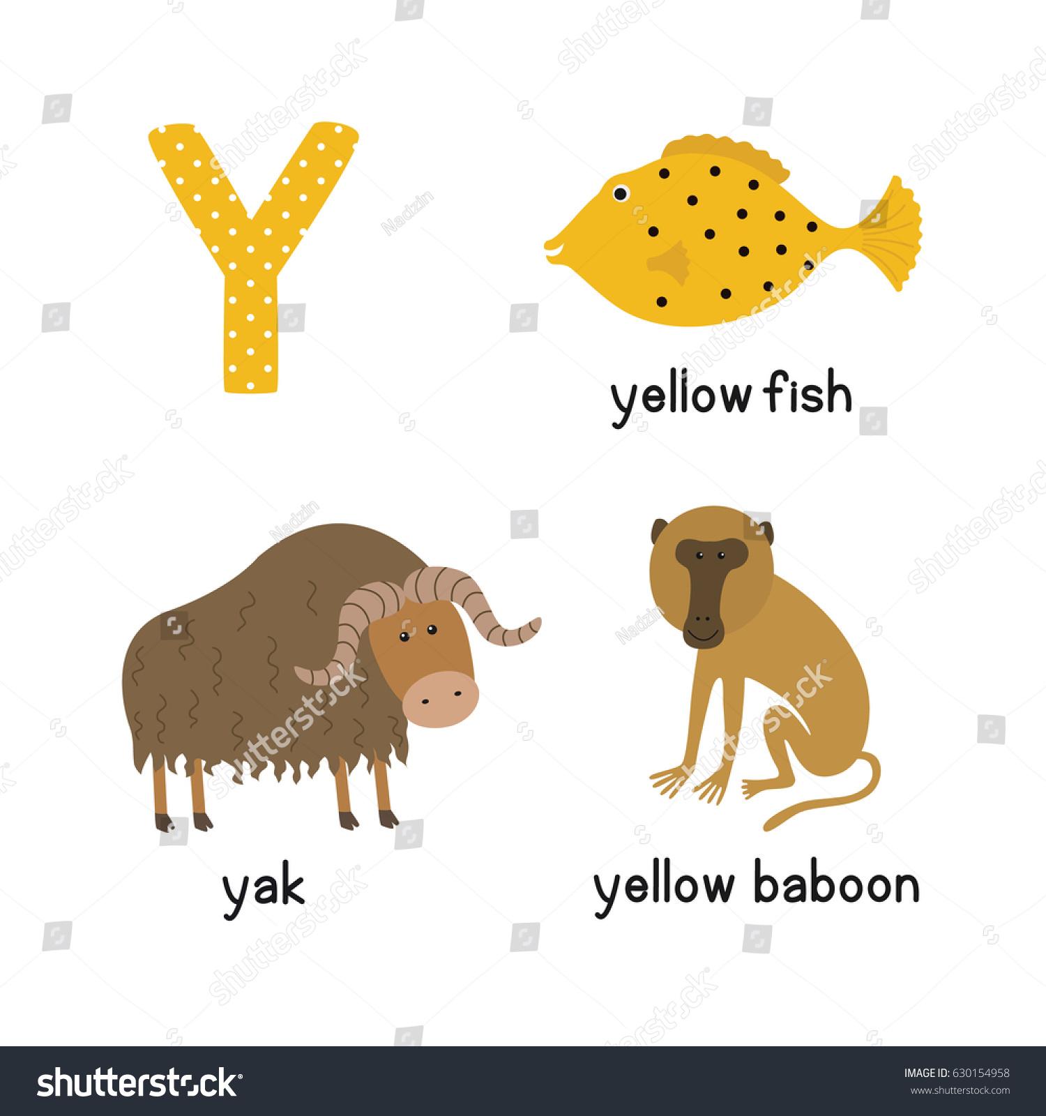 Letter Y Cartoon Alphabet Children Vector Stock Vector Royalty Free 630154958