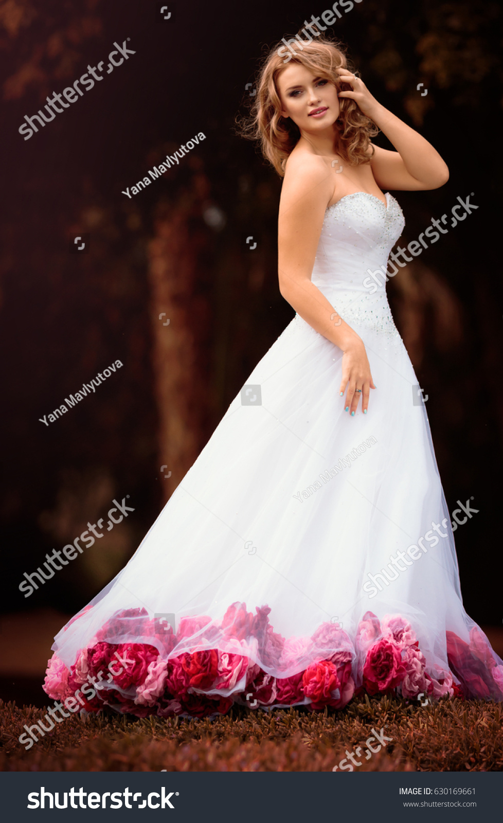 Beautiful Bride White Dress Pink Red Stock Photo Edit Now