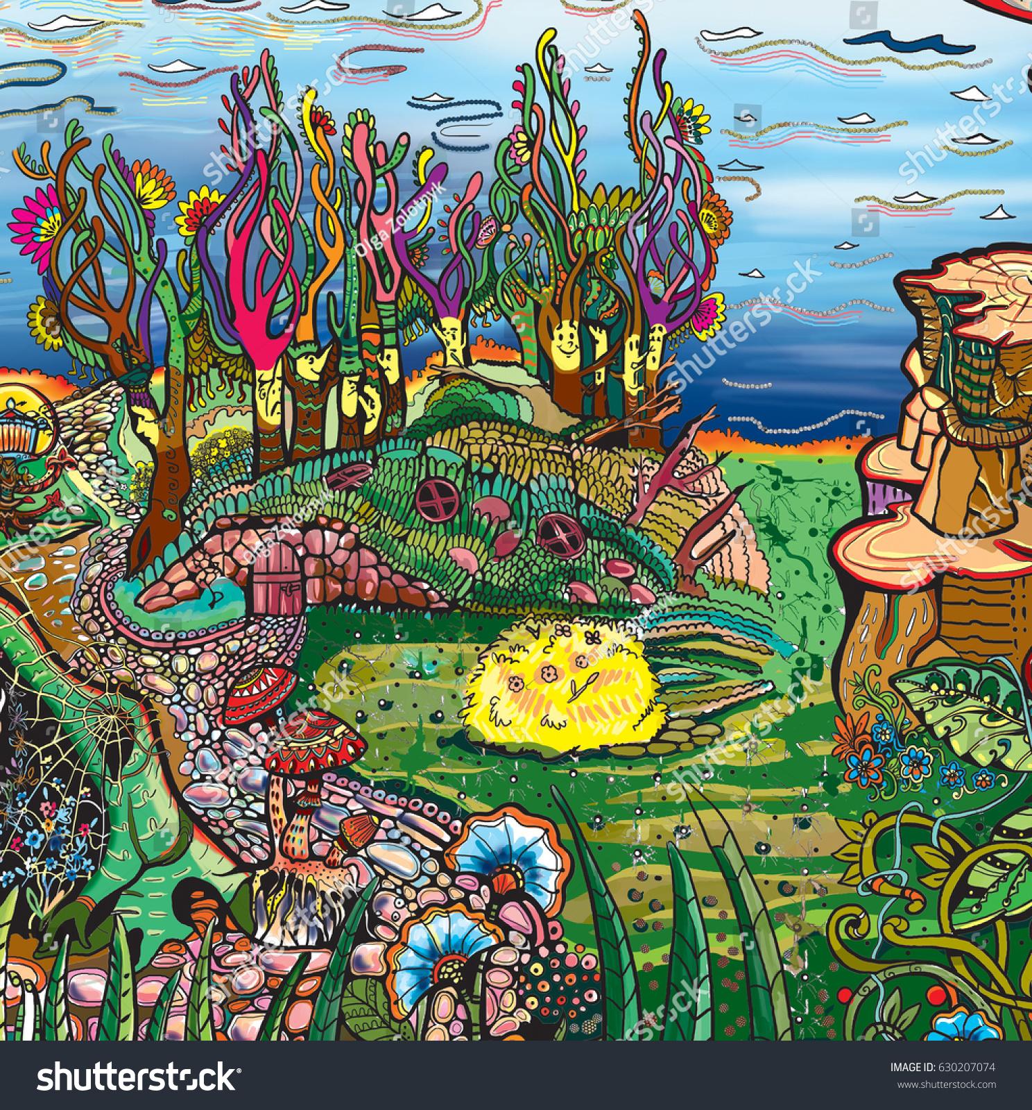 Multicolored Trees Stock Illustration 630207074 - Shutterstock