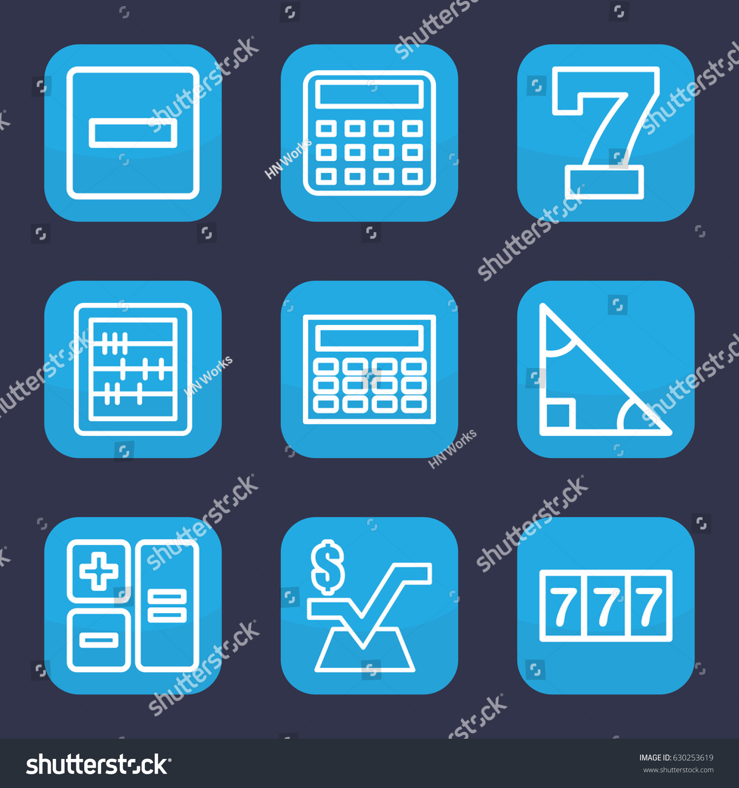 Math Icon Set 9 Outline Math Stock Vector (Royalty Free) 630253619 ...