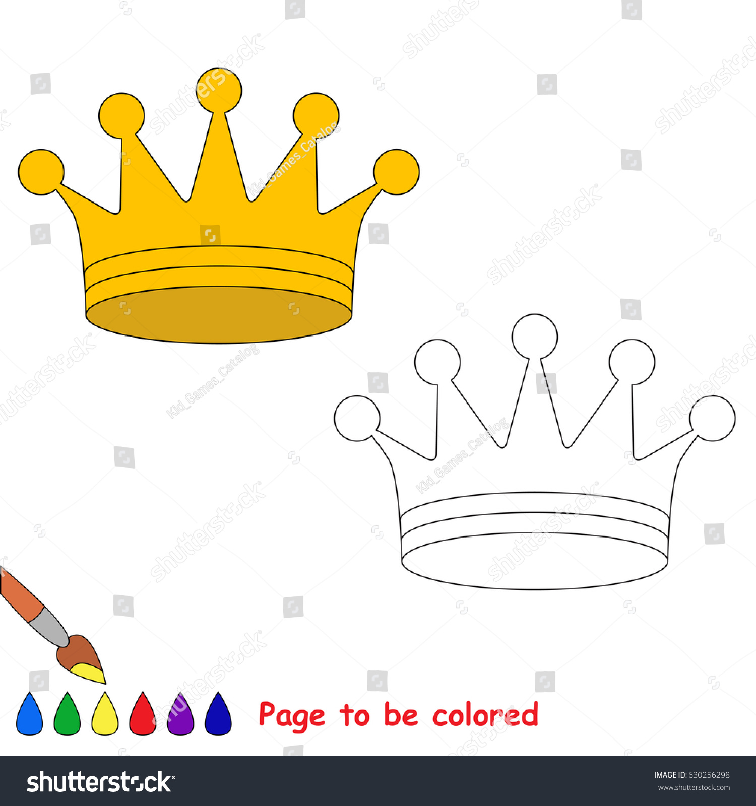 Coloring book princess crowns - Princess Crown To Be Colored The Coloring Book For Preschool Kids With Easy Educational Gaming