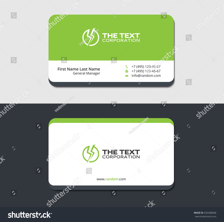 Green Business Card Template Power Emblem Stock Vector 630288068 ...