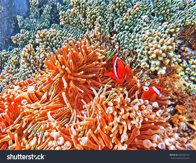 Tropical Fish Vintage Digital Illustration Orange Stock Illustration ...