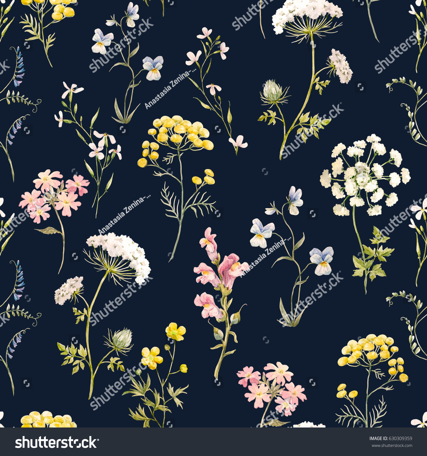 Watercolor Floral Pattern Delicate Flower Wallpaper 630309359