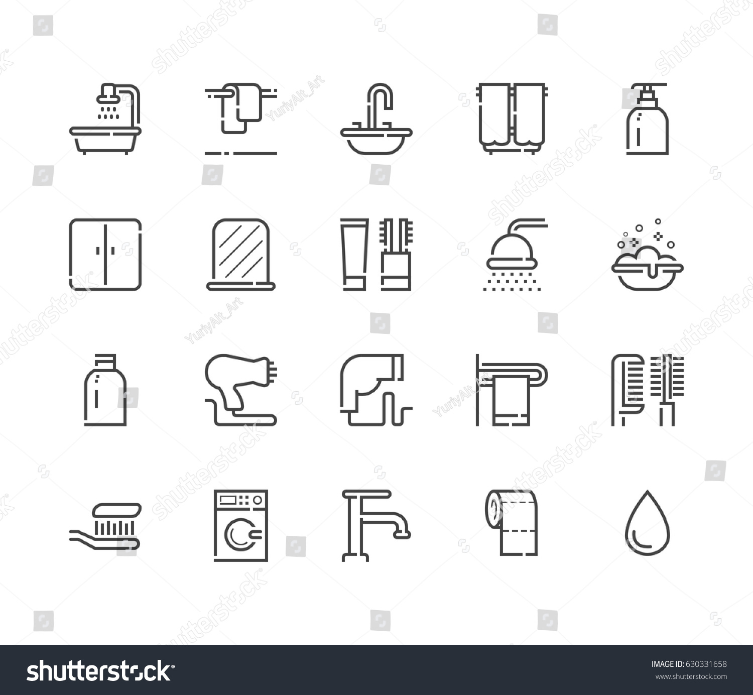 Toilet signs vector set stock images image 36323784 - Bathroom Icon Outline Vector Set 48x48 Stock Vector 630331658 Stock Vector Bathroom Icon Outline Vector Set