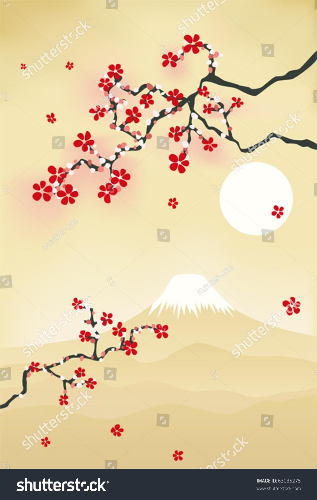branch of cherry blossoms sakura with burgundy flowers | EZ Canvas