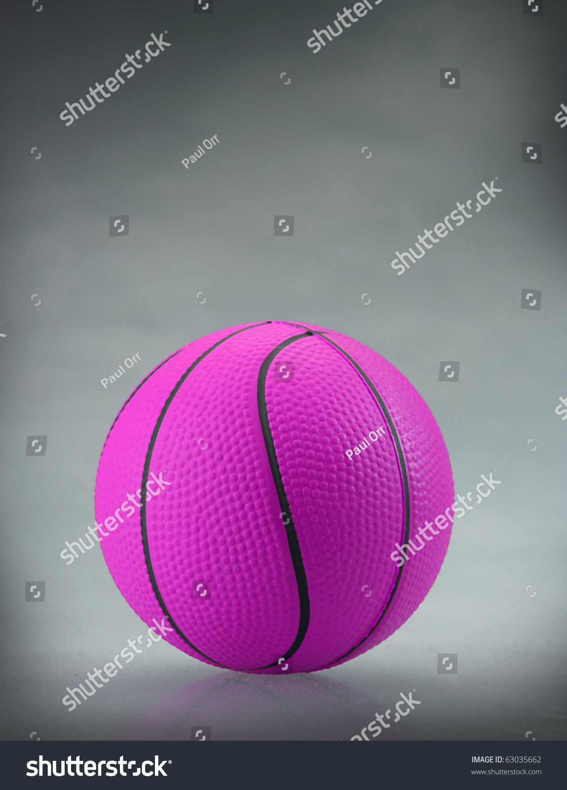 Neon Purple Basketball With Gray Sponged Background And