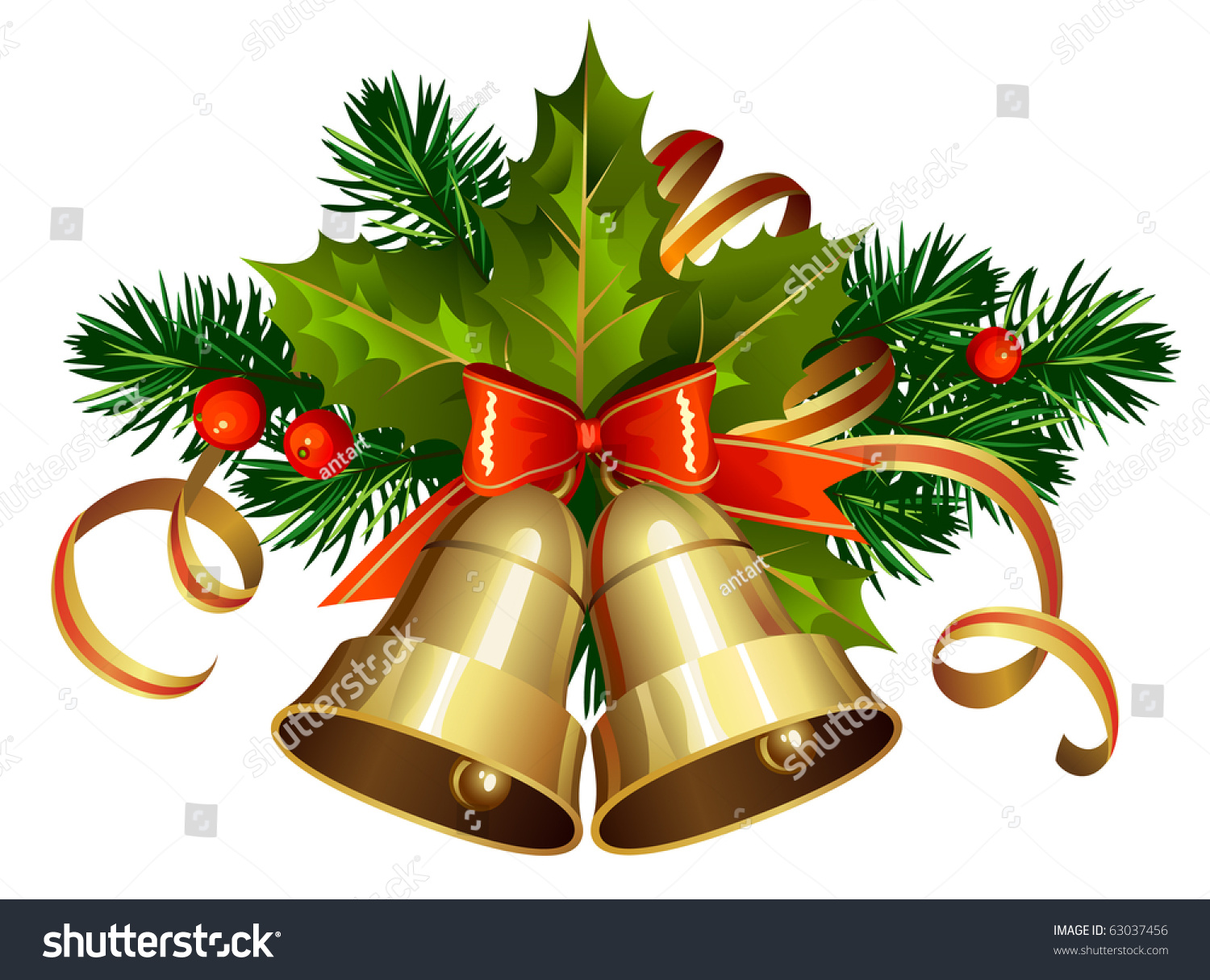 christmas decoration with evergreen trees and bells - Christmas Decoration