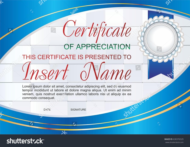 Vector Template Certificate Appreciation Colorful Pattern Stock