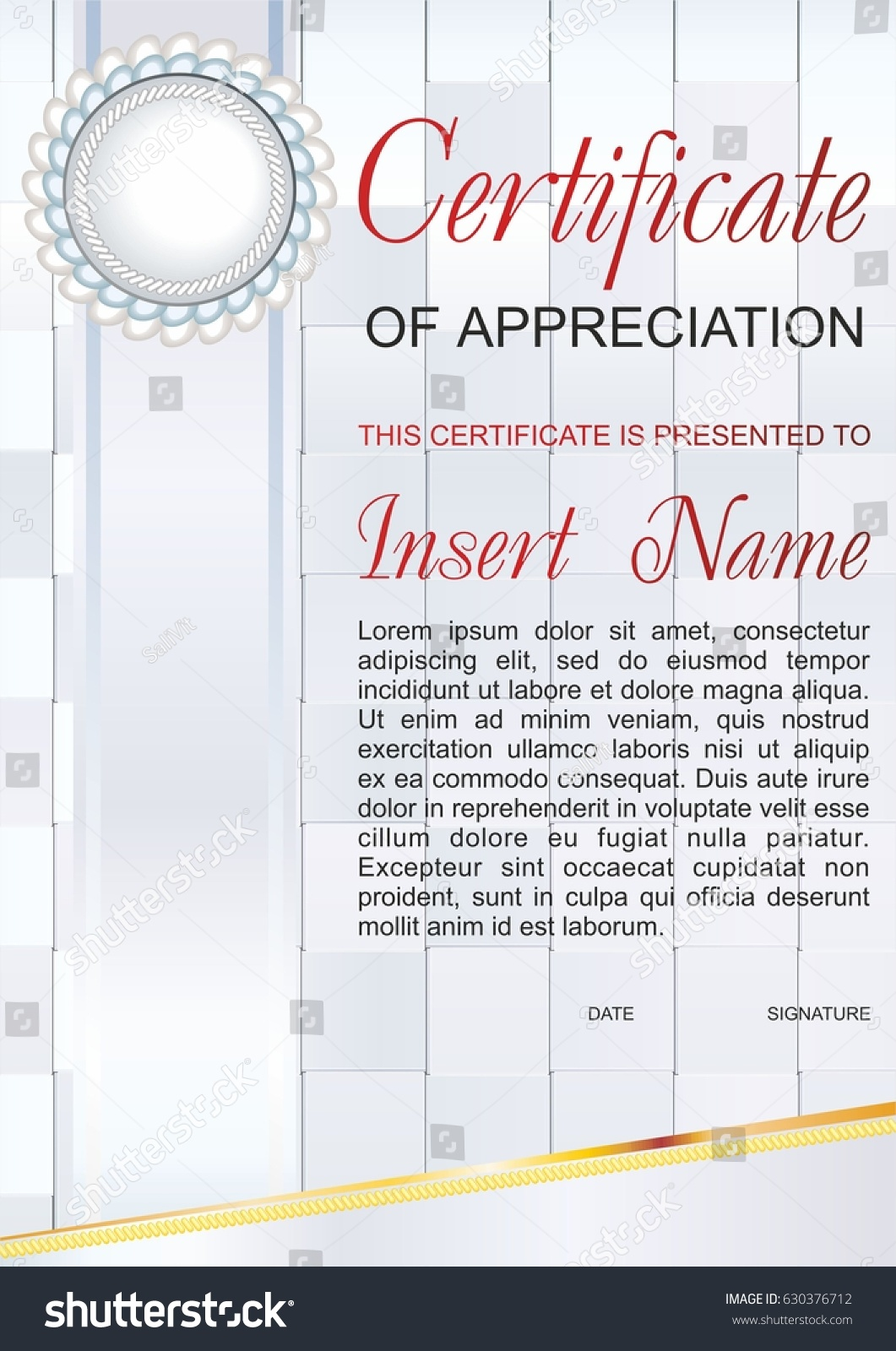 Vector template certificate appreciation colorful pattern stock vector template certificate of appreciation with colorful pattern and a beautiful bow and place for yadclub Images