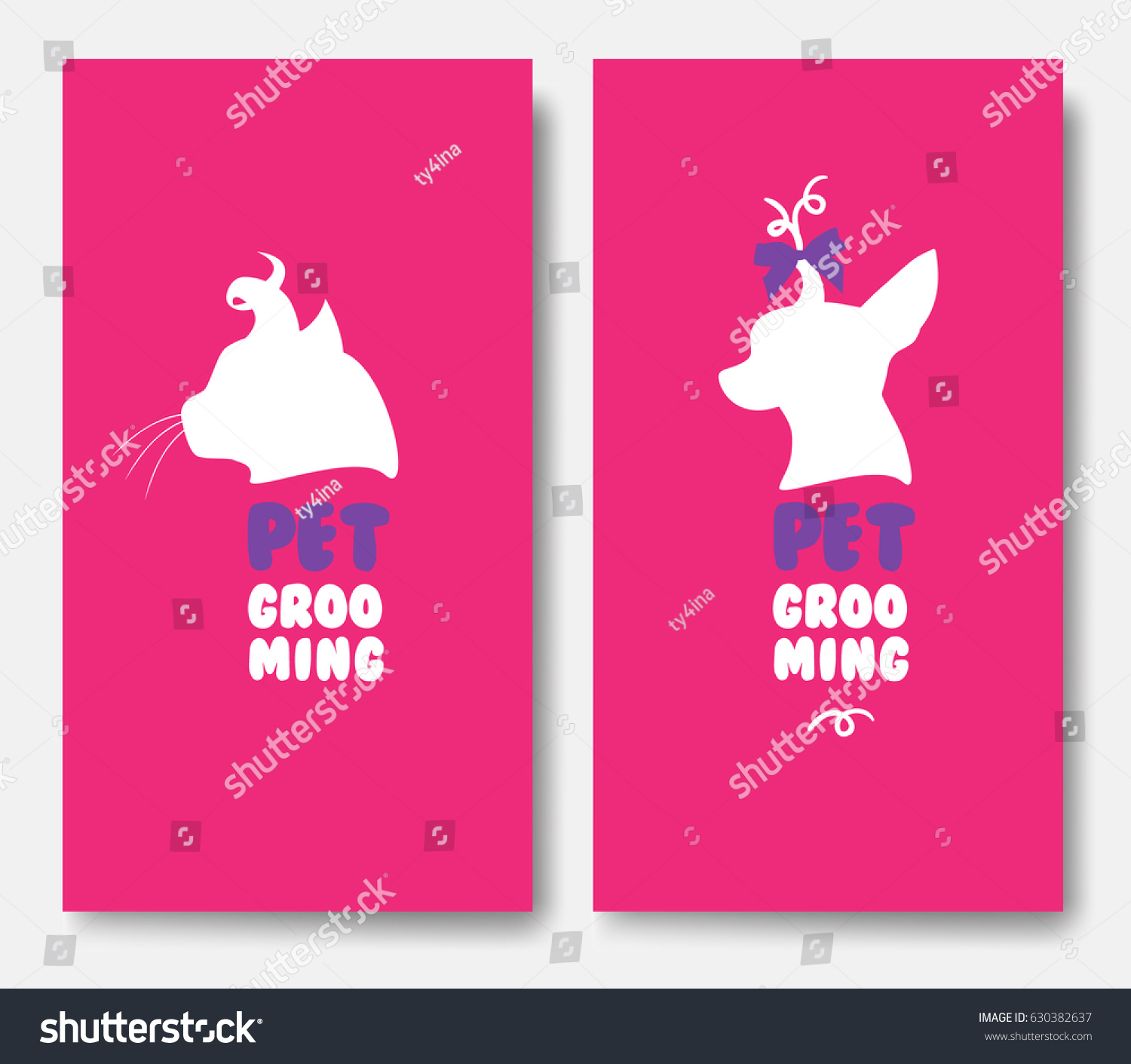 Business Cards Templates Grooming Service Pet Stock Vector 630382637 ...