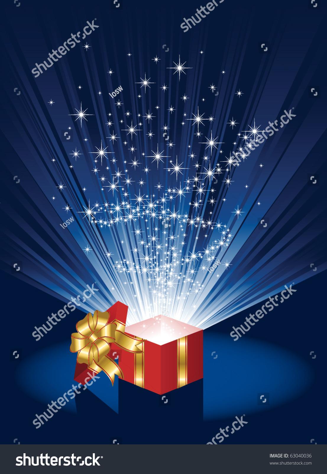 Open Magic Gift Box Illustration Stock Vector 63040036