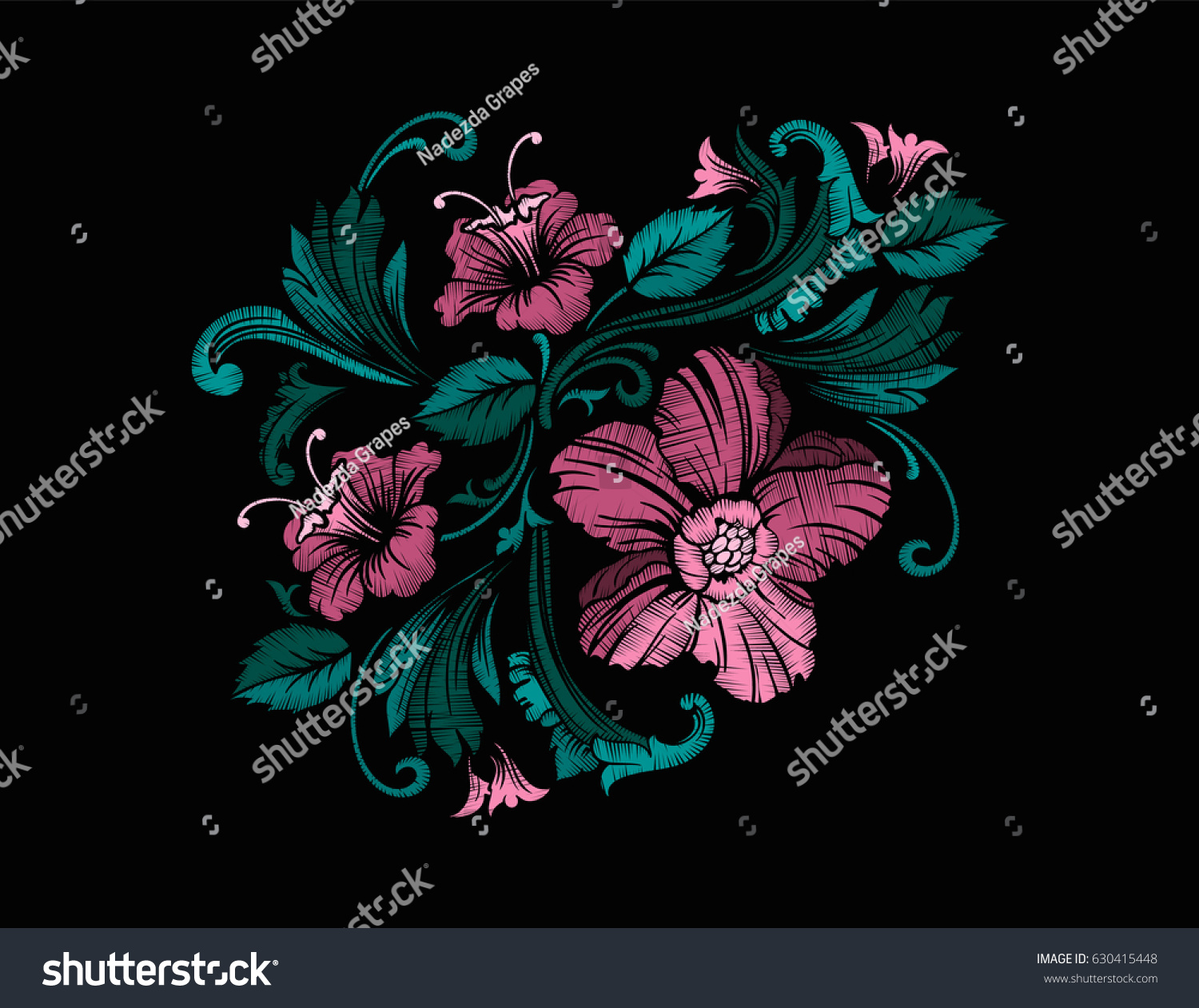 embroidery design baroque style independent composition stock vector 630415448 shutterstock. Black Bedroom Furniture Sets. Home Design Ideas