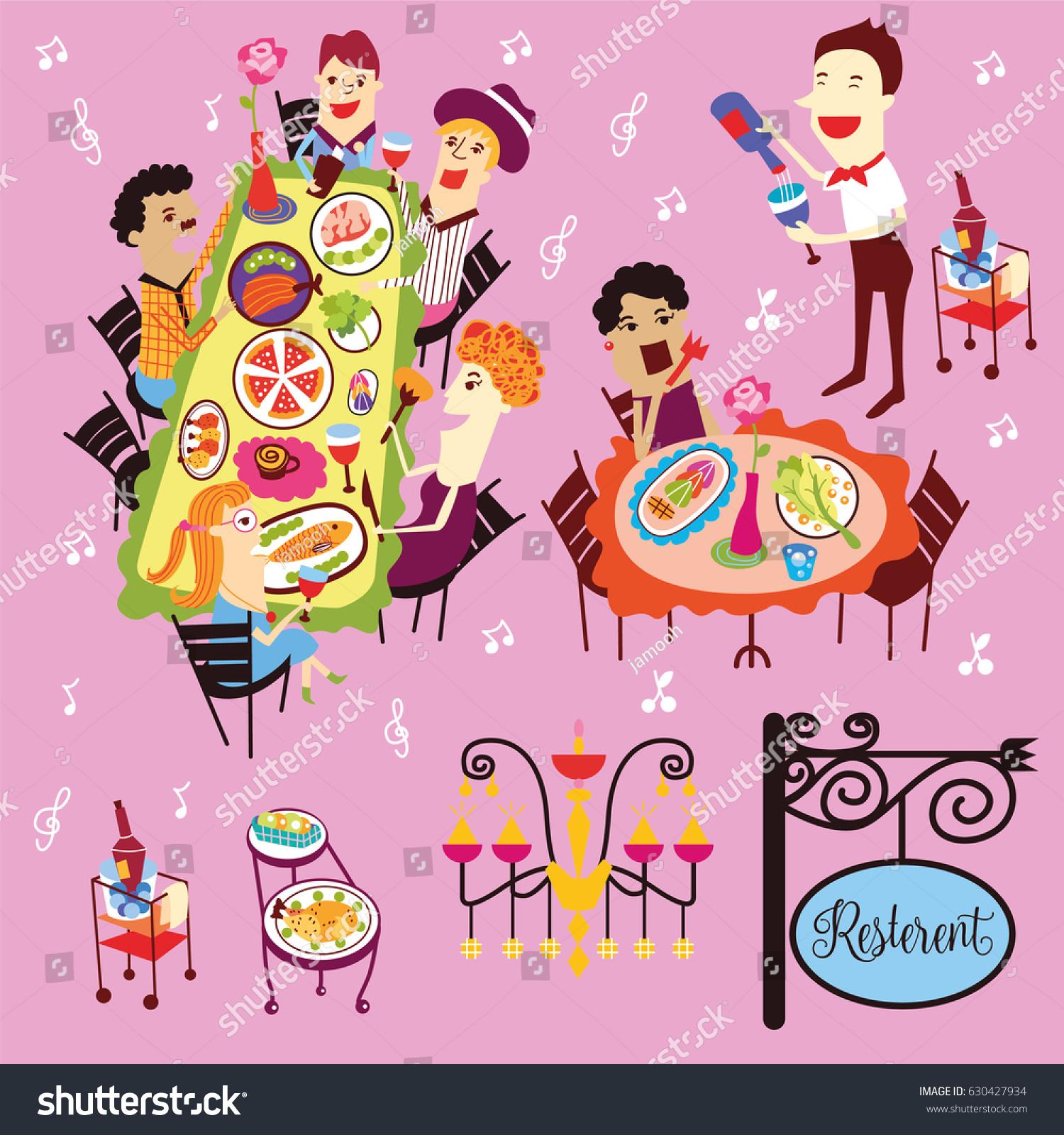 Vector De Stock Libre De Regalias Sobre People Having Lunch Luxury Exclusive Rooftop630427934