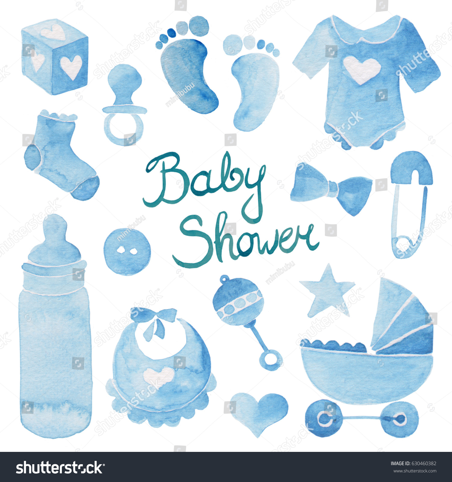 Watercolor Illustration Of Blue Baby Boy Shower Symbols And Hand Lettering  For Party Invitation Card